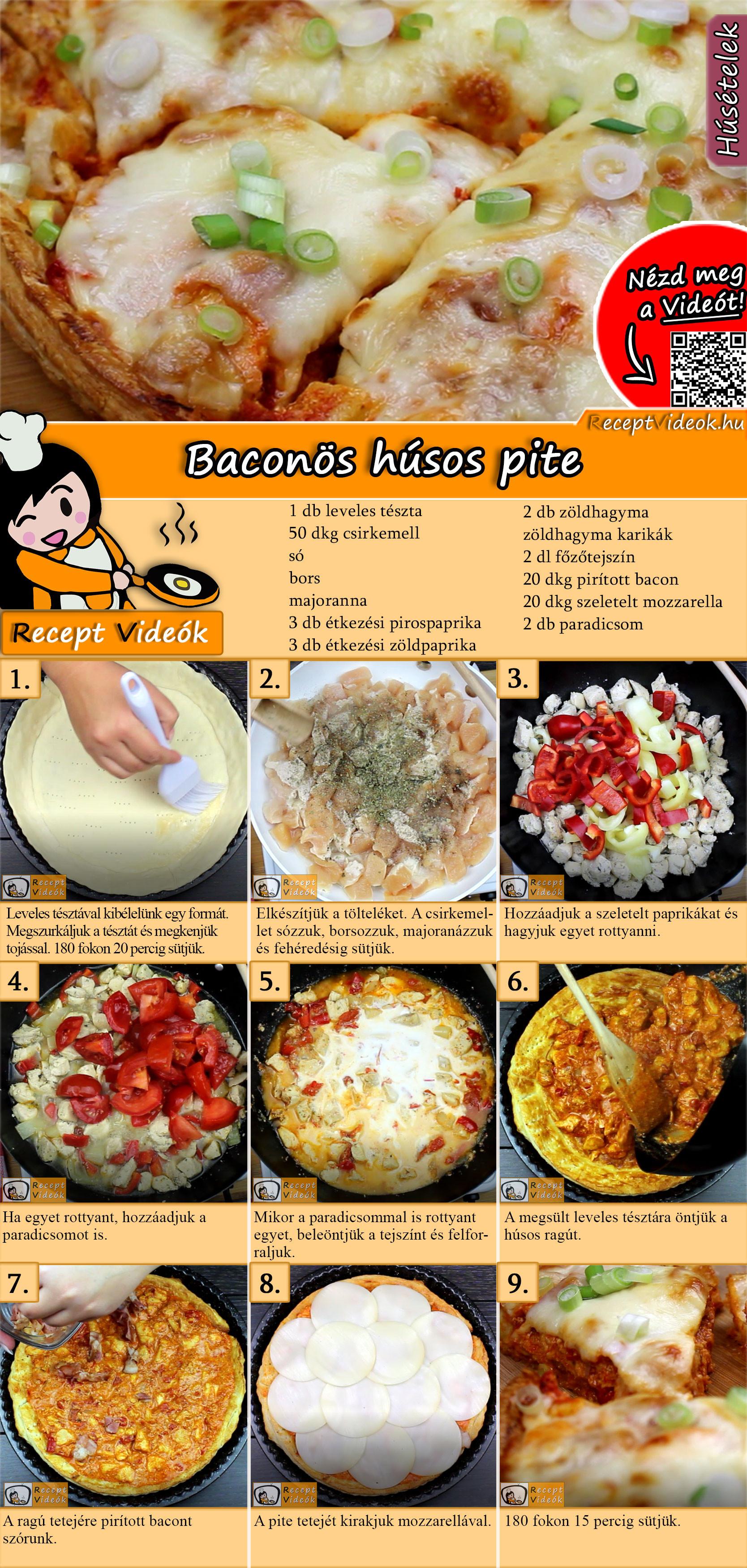 Baconös-húsos pite recept elkészítése videóval