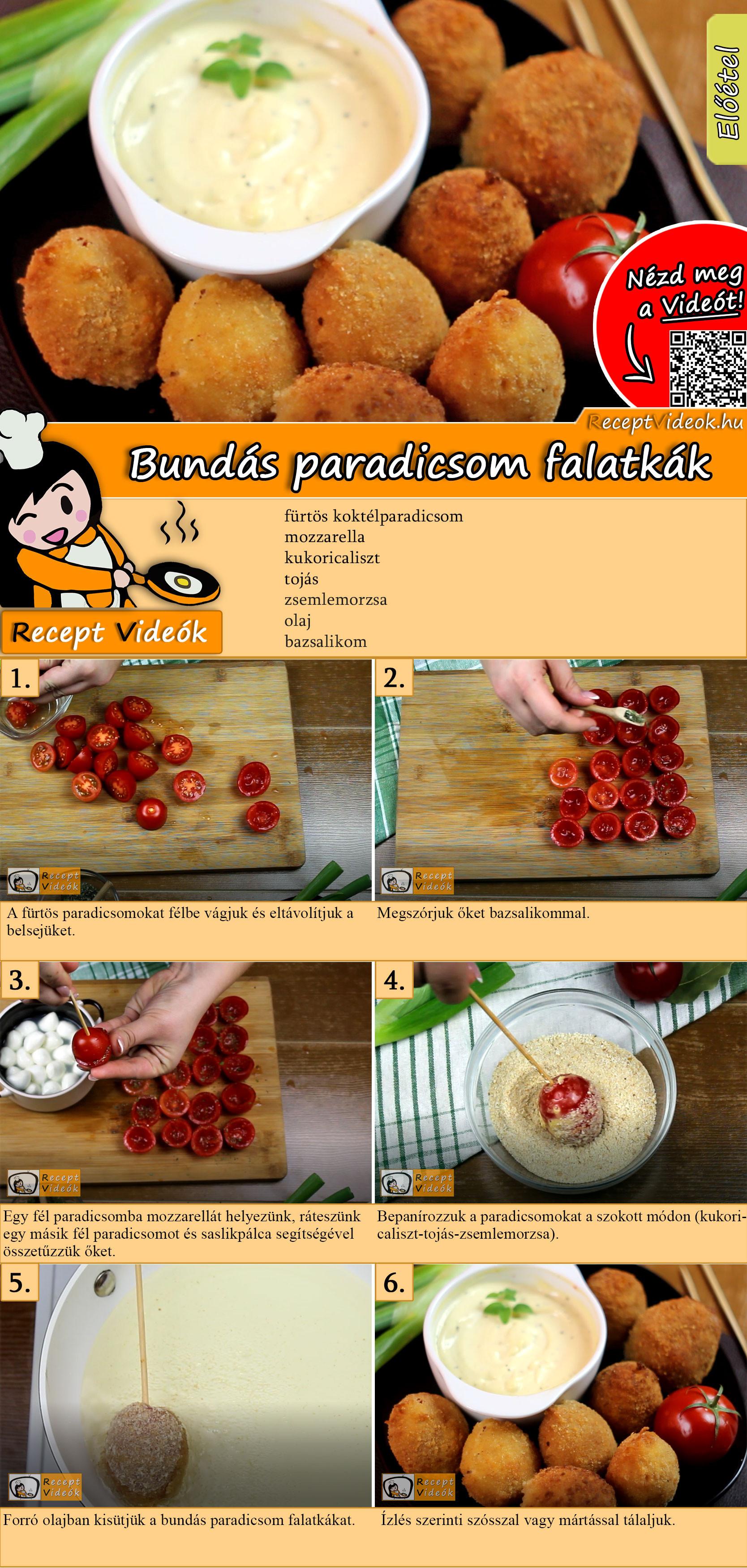 Bundás paradicsom falatkák recept elkészítése videóval