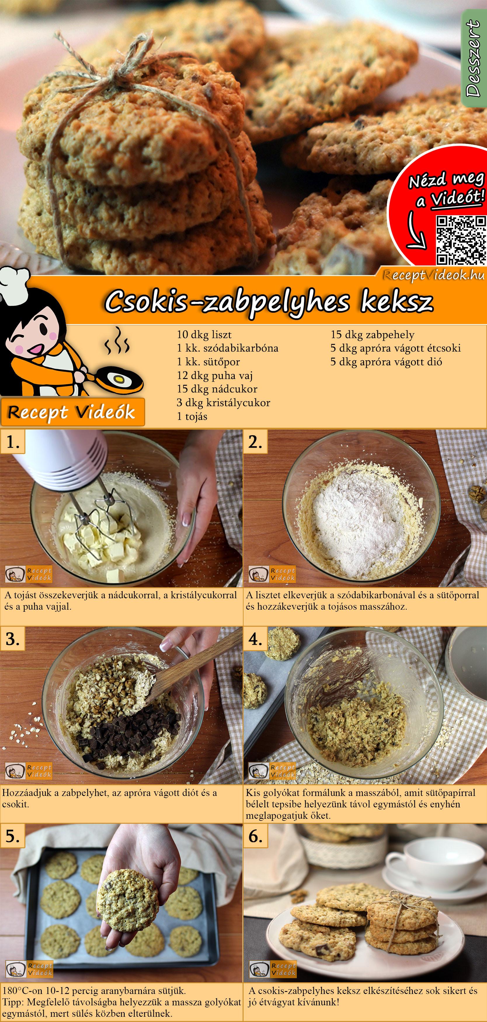 Csokis-zabpelyhes keksz recept elkészítése videóval