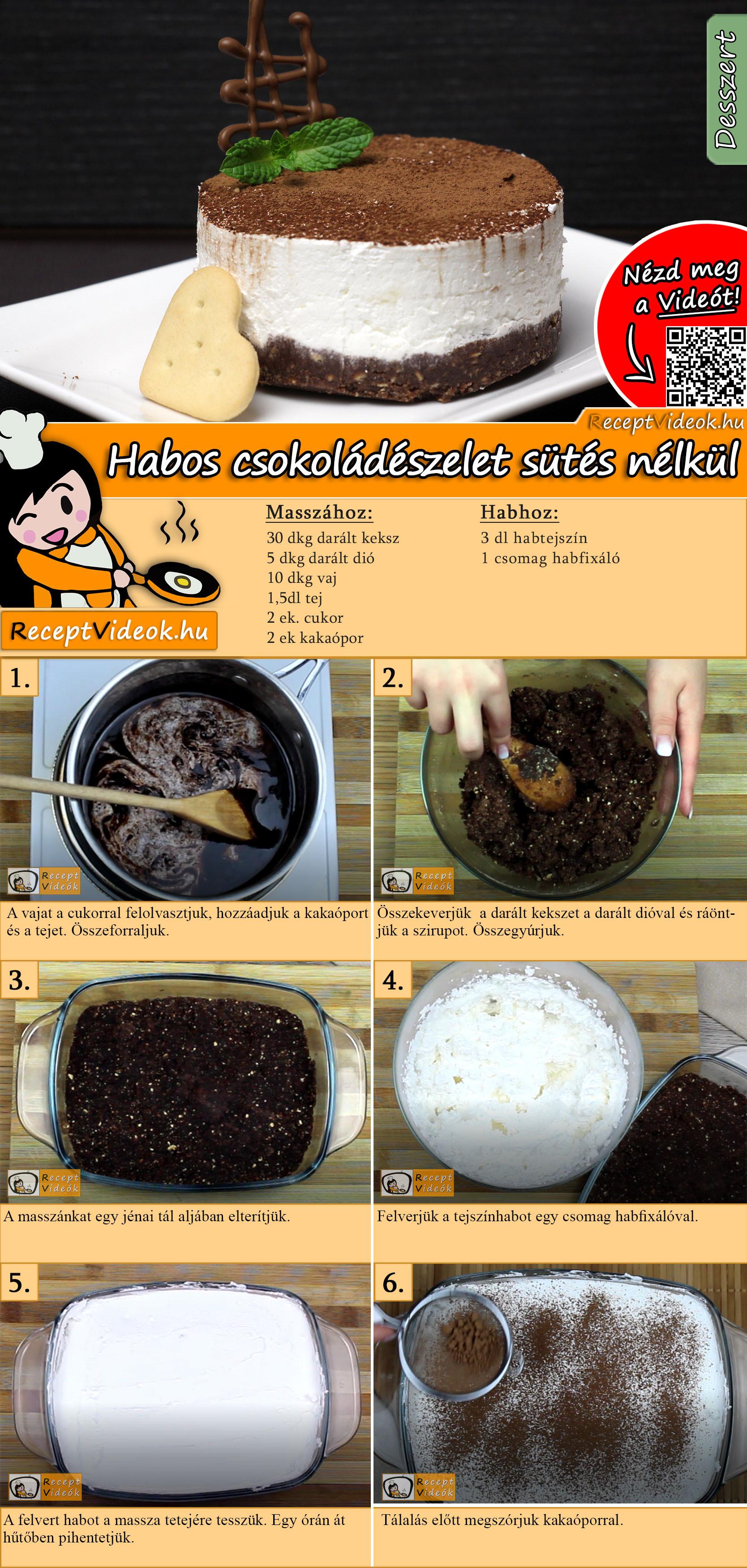 Habos csokoládészelet sütés nélkül recept elkészítése videóval