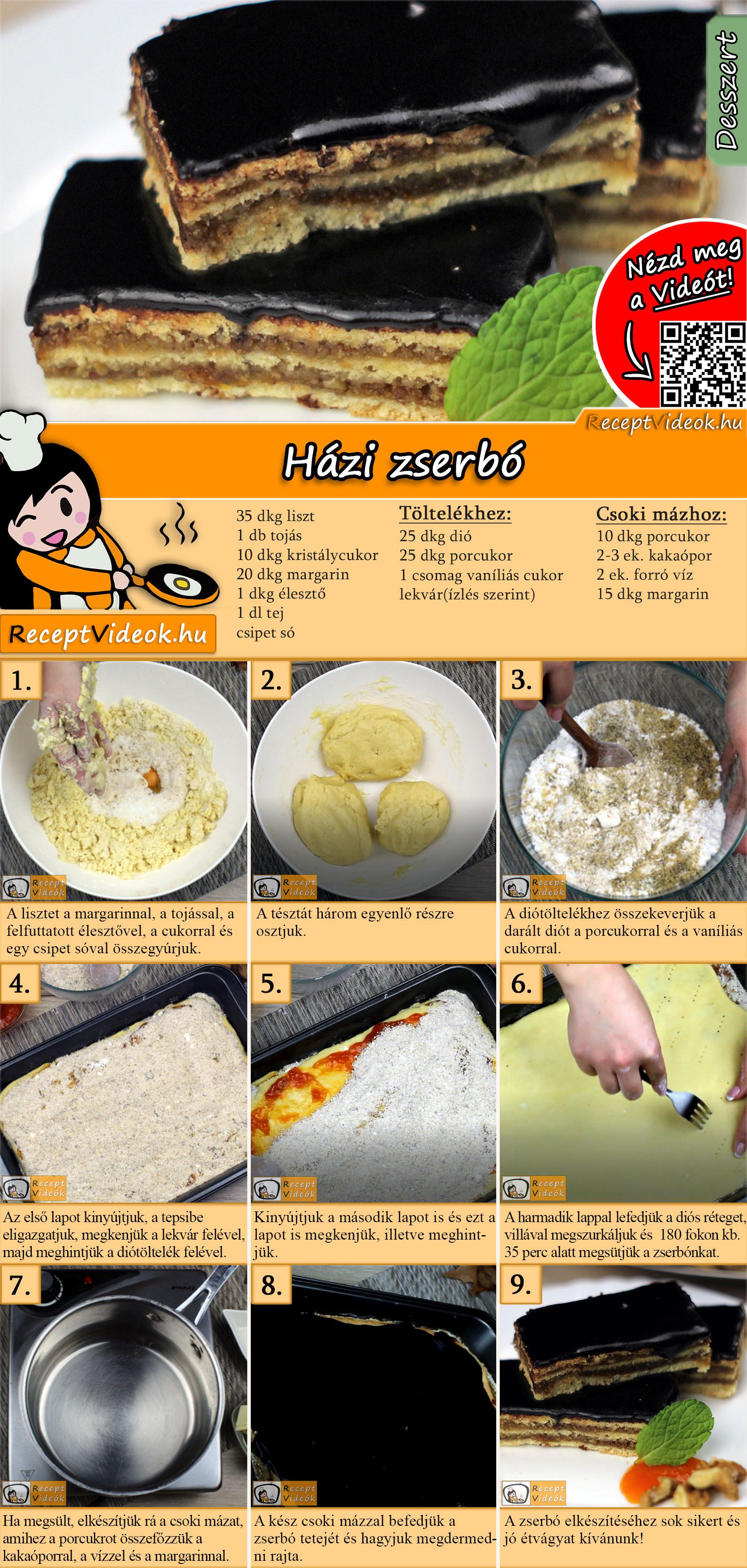 Házi zserbó recept elkészítése videóval