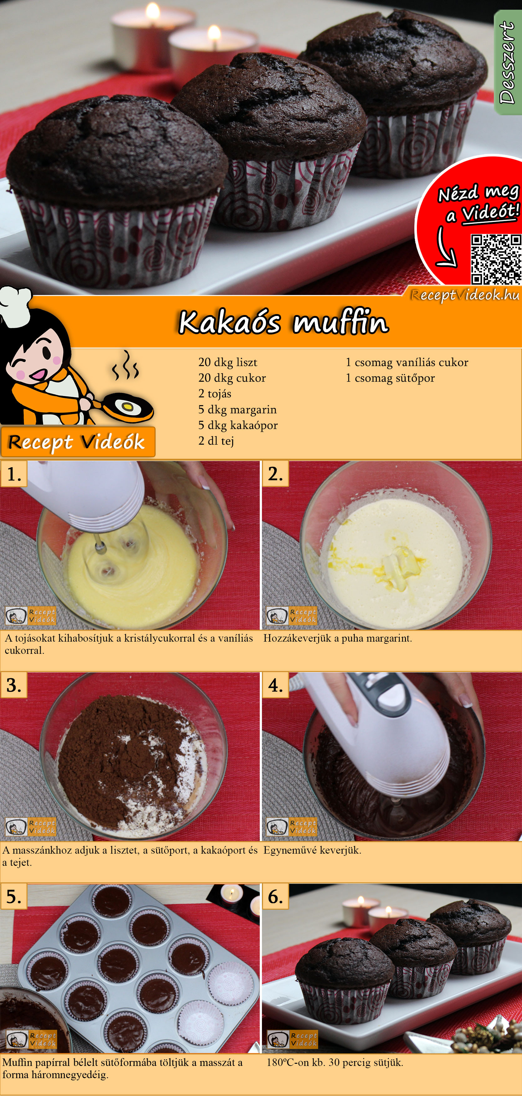 Kakaós muffin recept elkészítése videóval
