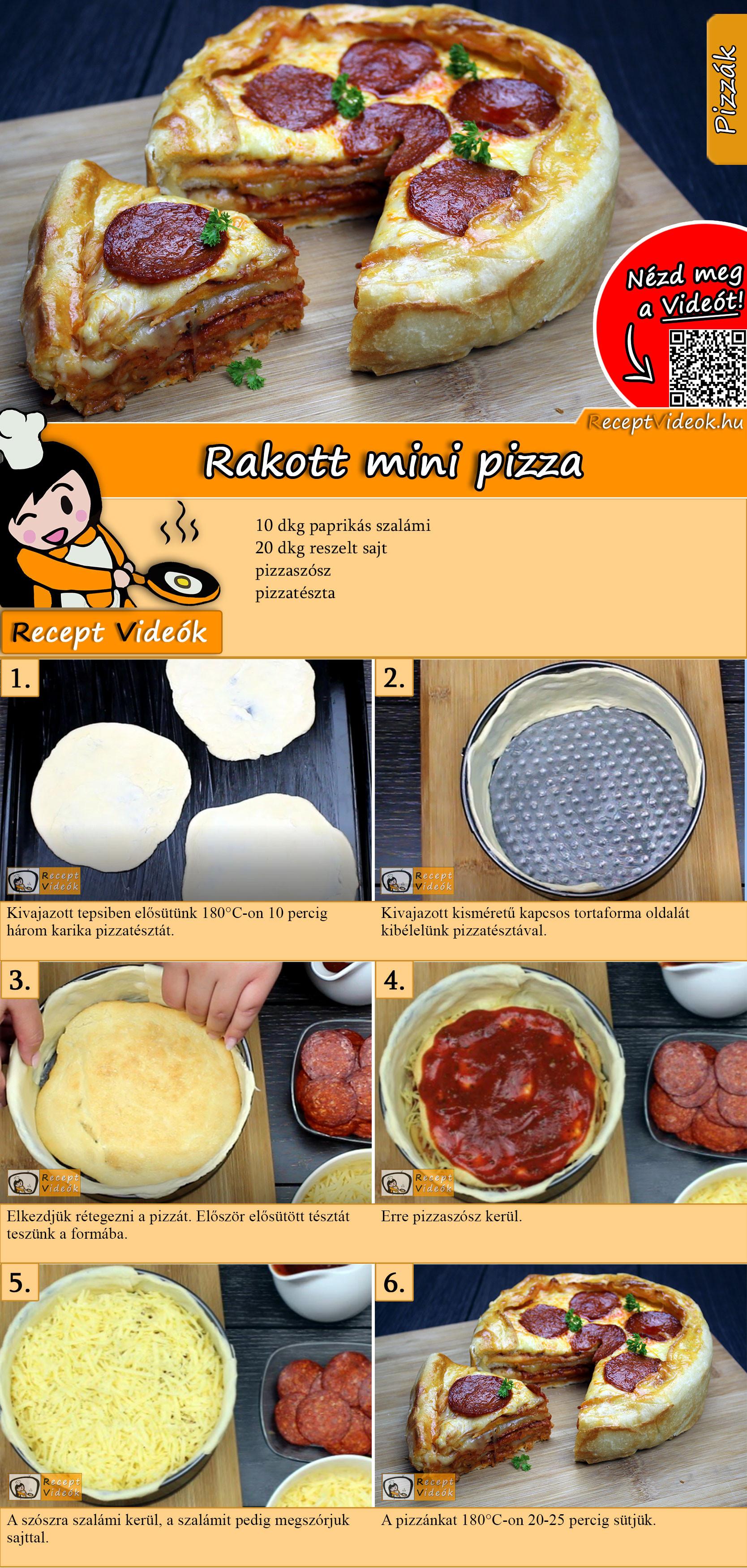Rakott mini pizza recept elkészítése videóval