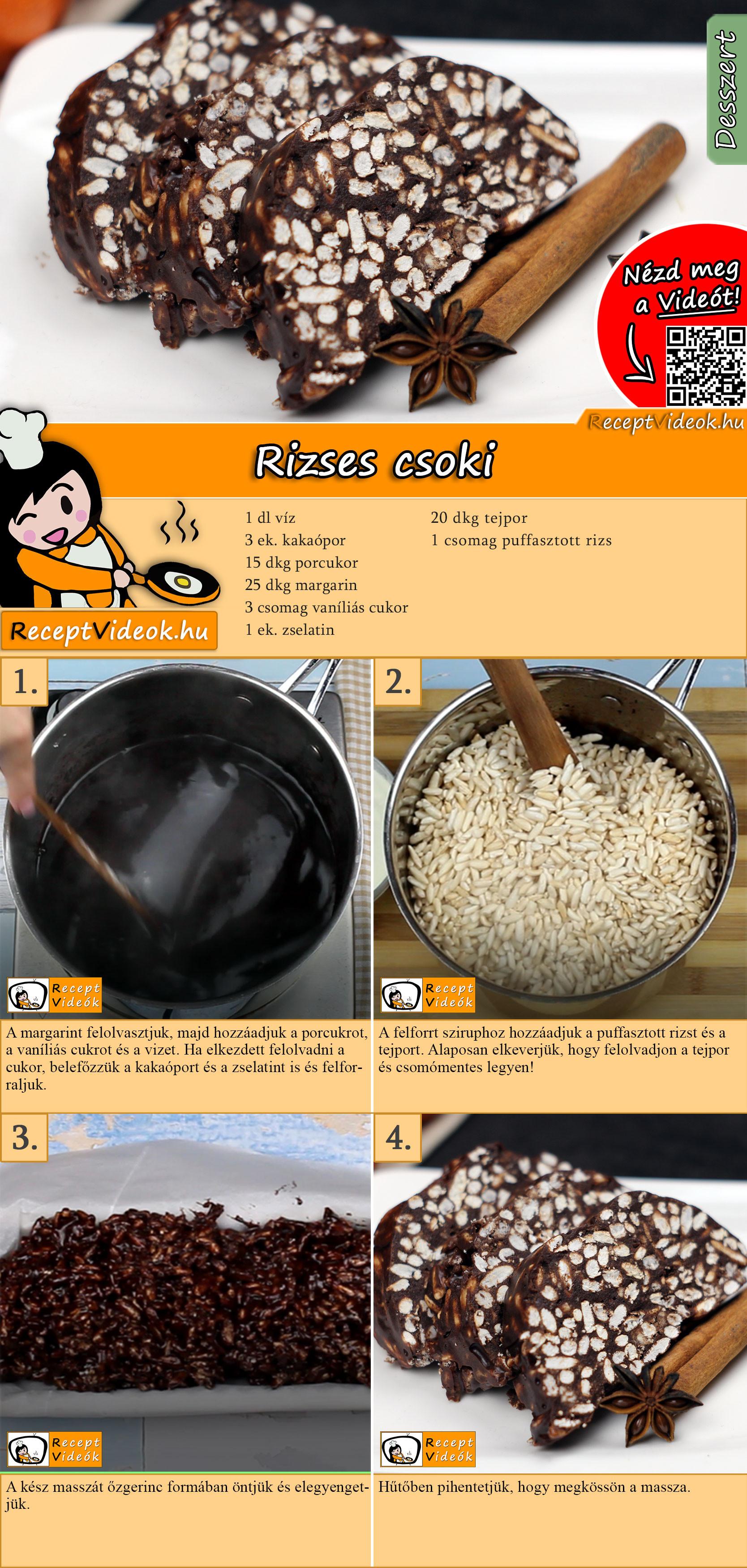 Rizses csoki recept elkészítése videóval