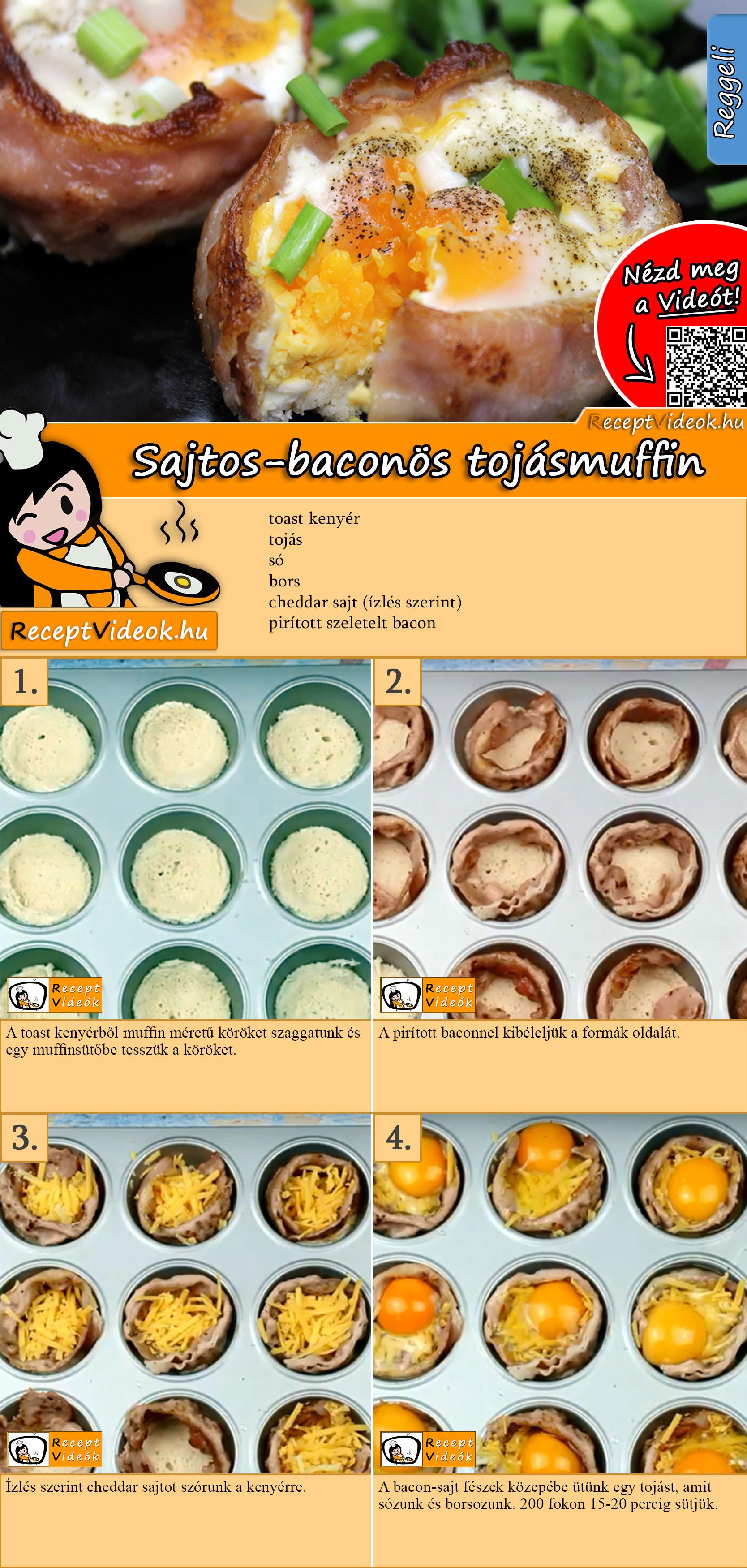 Sajtos-baconös tojásmuffin recept elkészítése videóval