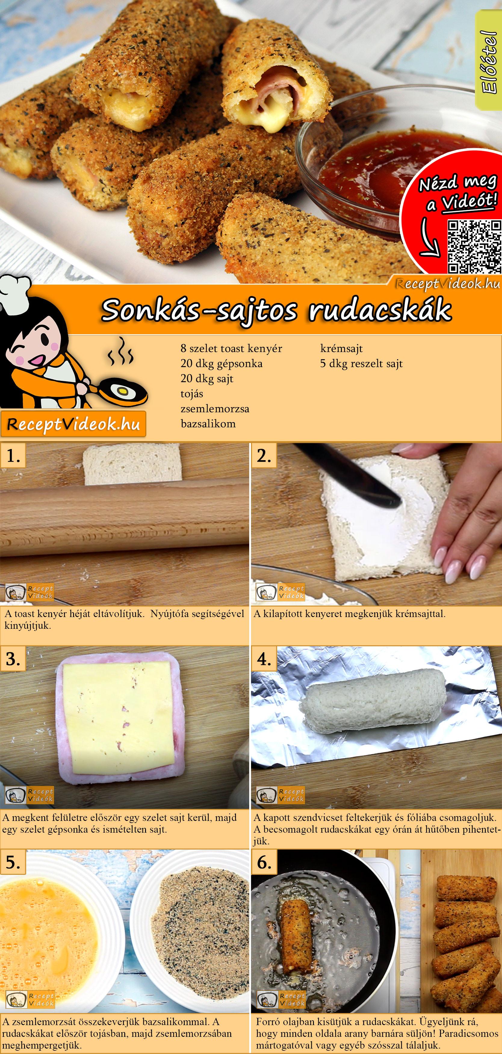 Sonkás-sajtos rudacskák recept elkészítése videóval
