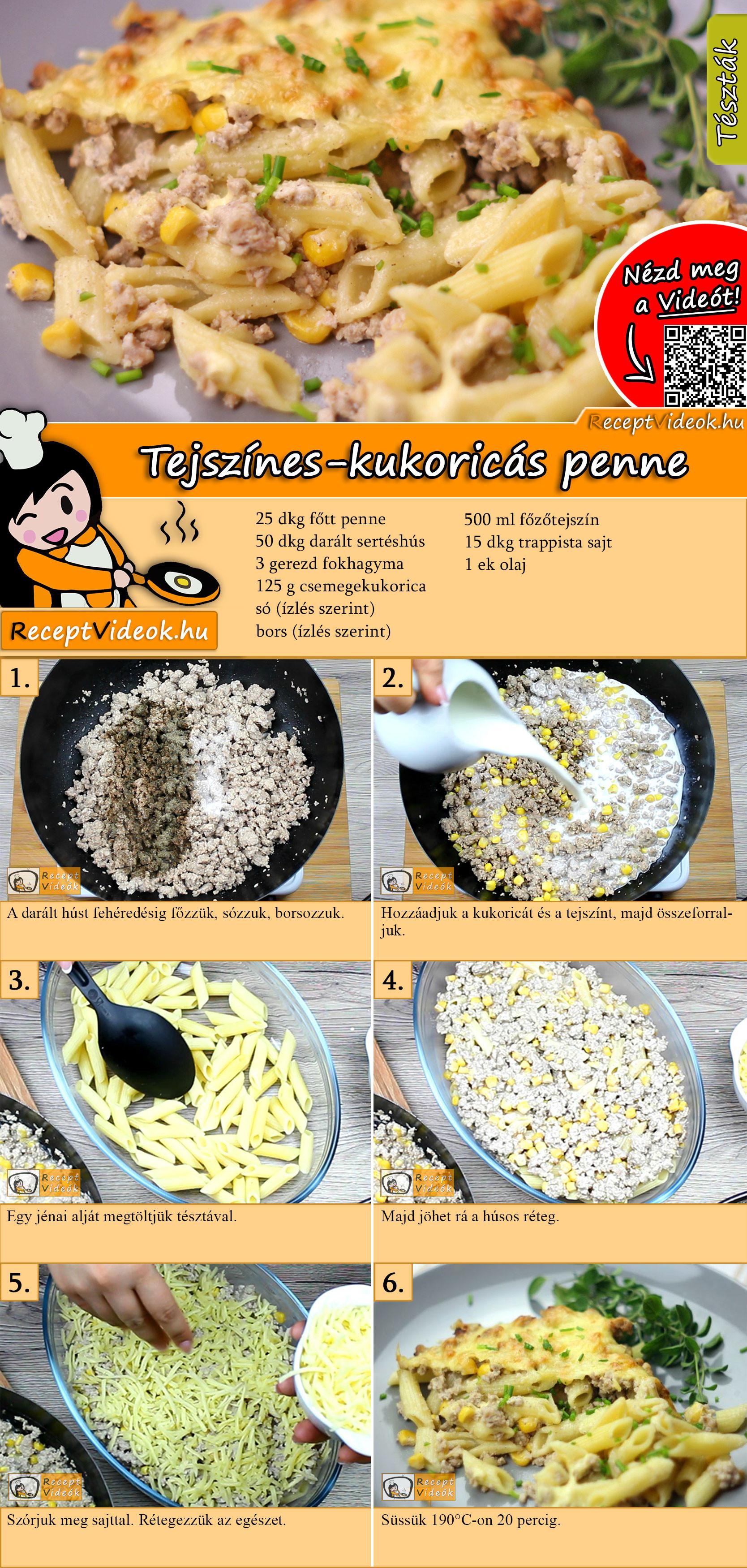 Tejszínes-kukoricás penne recept elkészítése videóval
