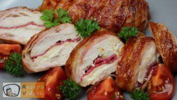 Baconös töltött csirkemell barbecue szósszal - Csirkemell receptek elkészítése - Recept Videók