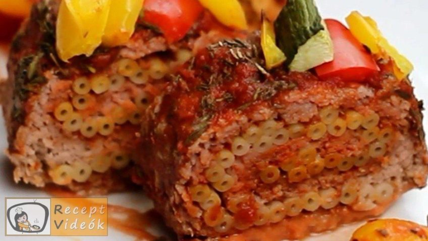 Húsos-makaróni tekercs recept, húsos-makaróni tekercs elkészítése - Recept Videók