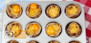 sajtos-baconös tojásmuffin recept, sajtos-baconös tojásmuffin elkészítése 5. lépés