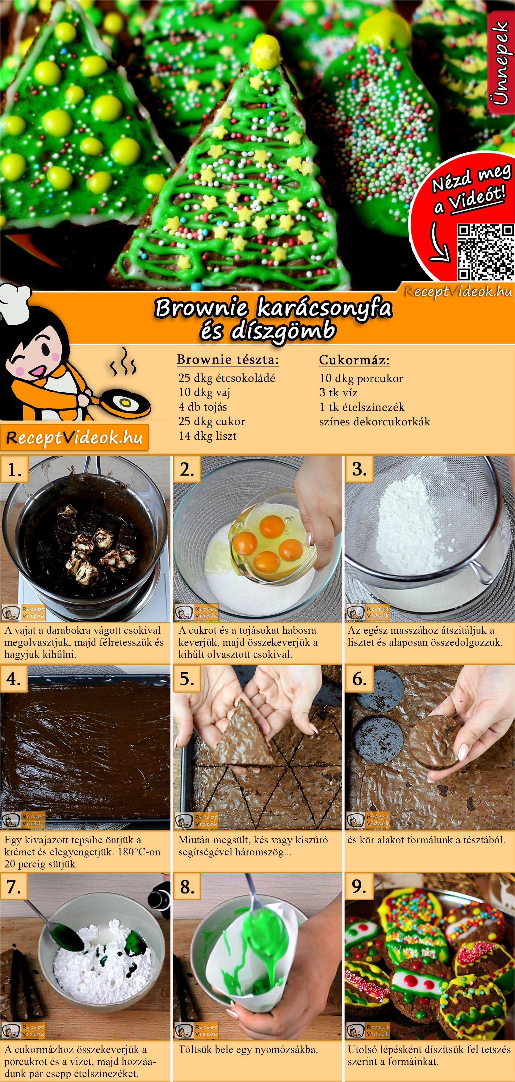 Brownie karácsonyfa és díszgömb recept elkészítése videóval