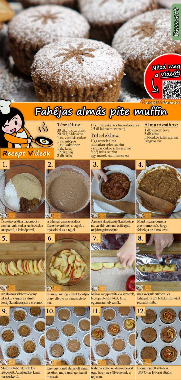 Fahéjas almás pite muffin recept elkészítése videóval