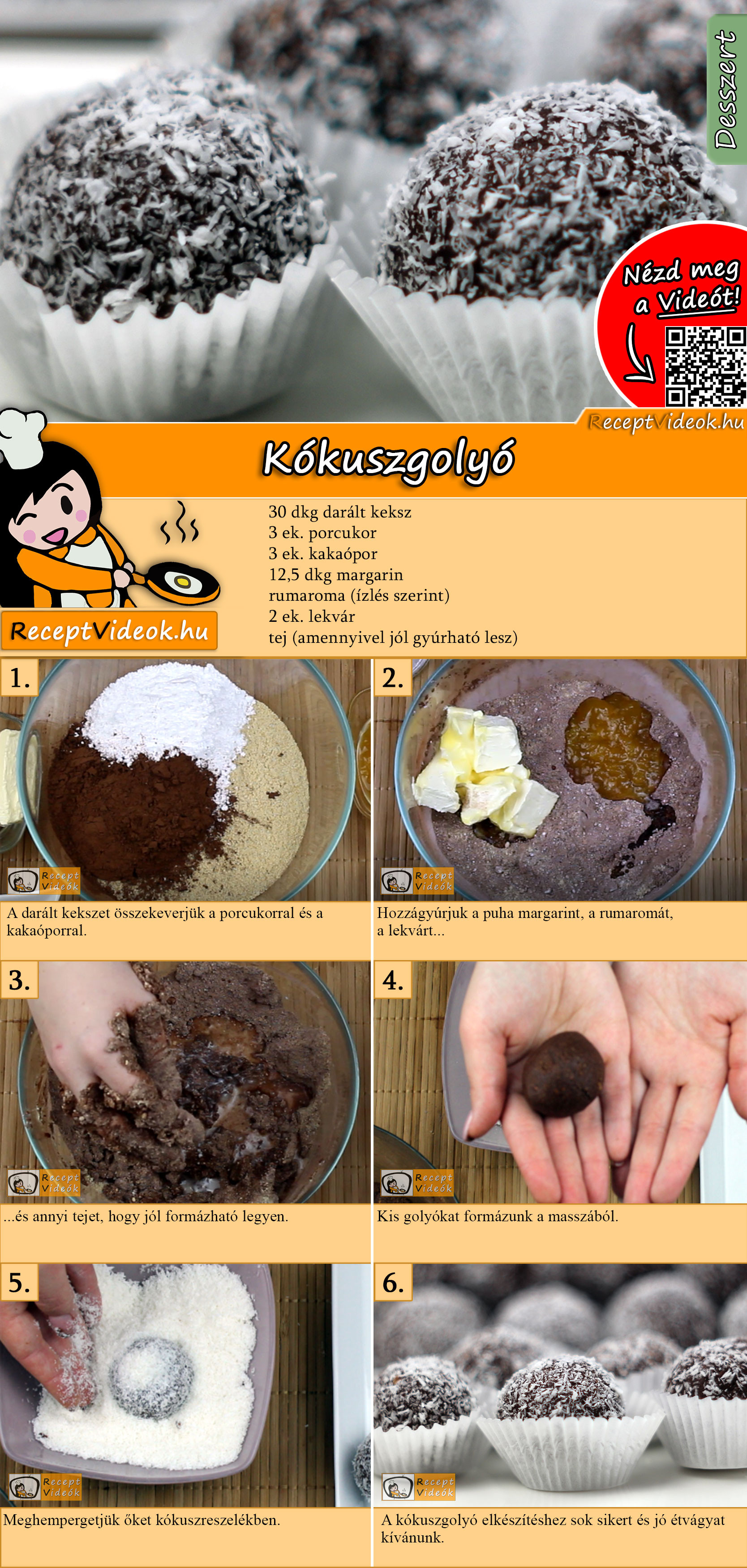 Kókuszgolyó recept elkészítése videóval