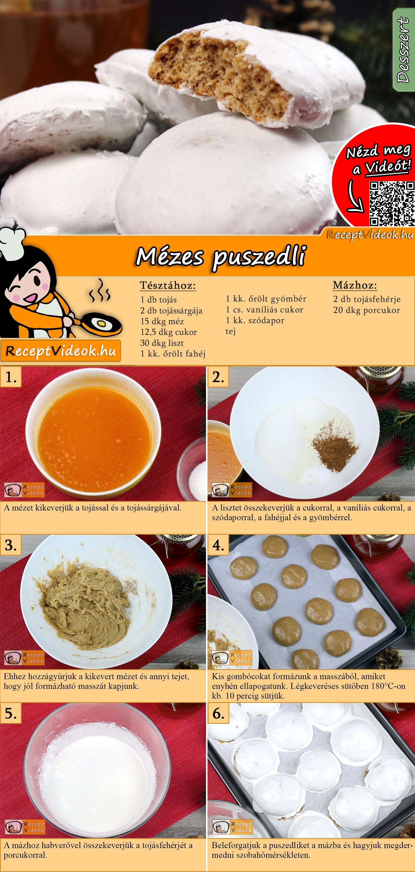 Mézes puszedli recept elkészítése videóval