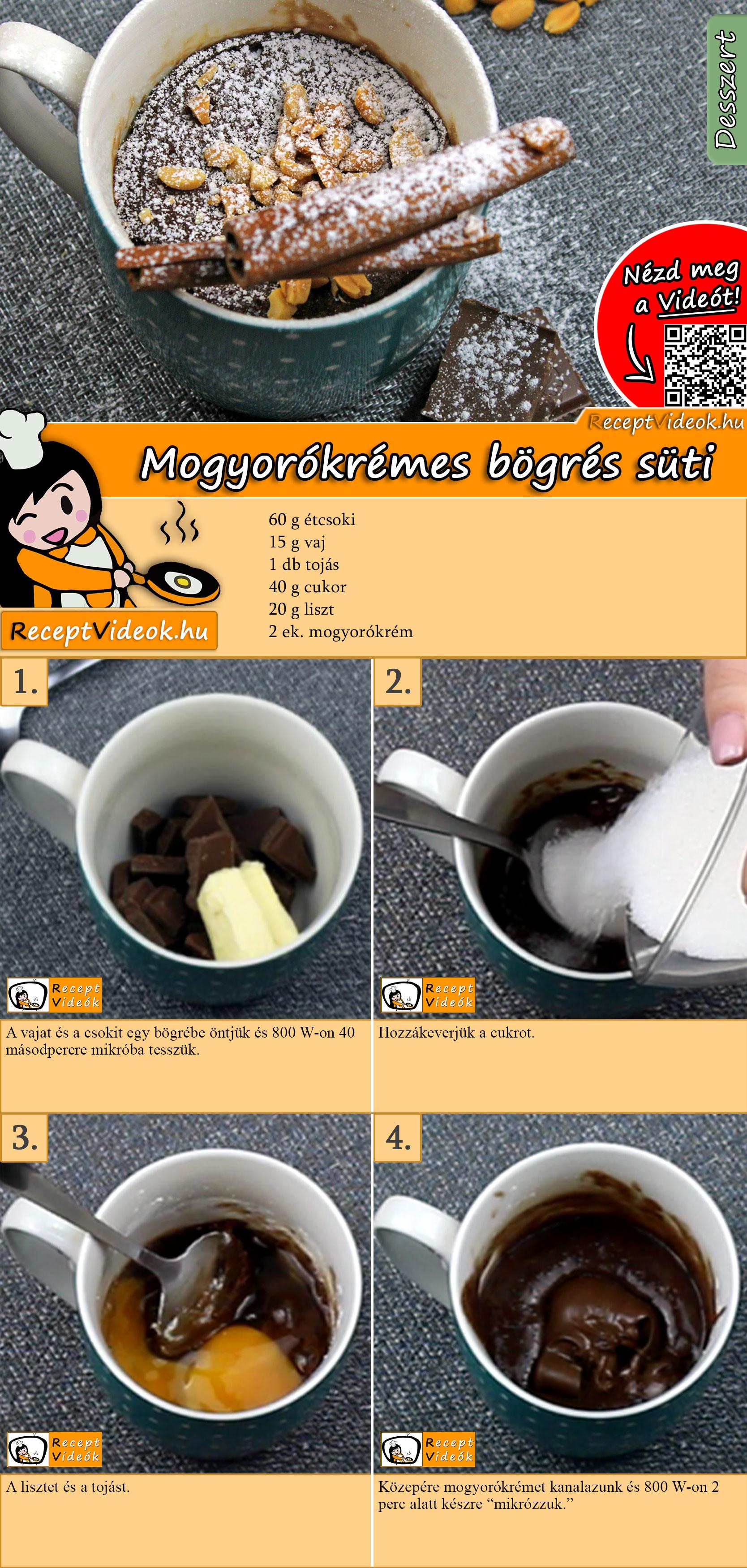 Mogyorókrémes bögrés süti recept elkészítése videóval