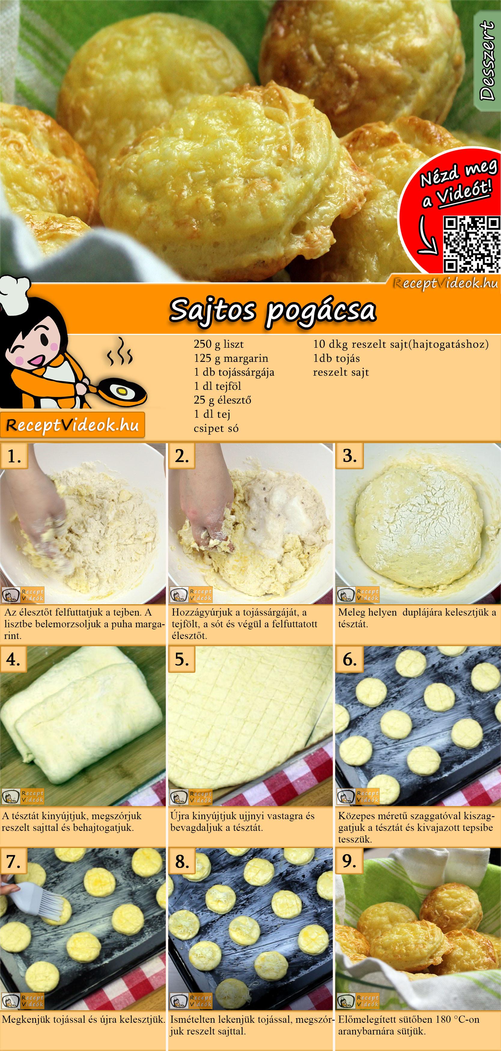 Sajtos pogácsa recept elkészítése videóval