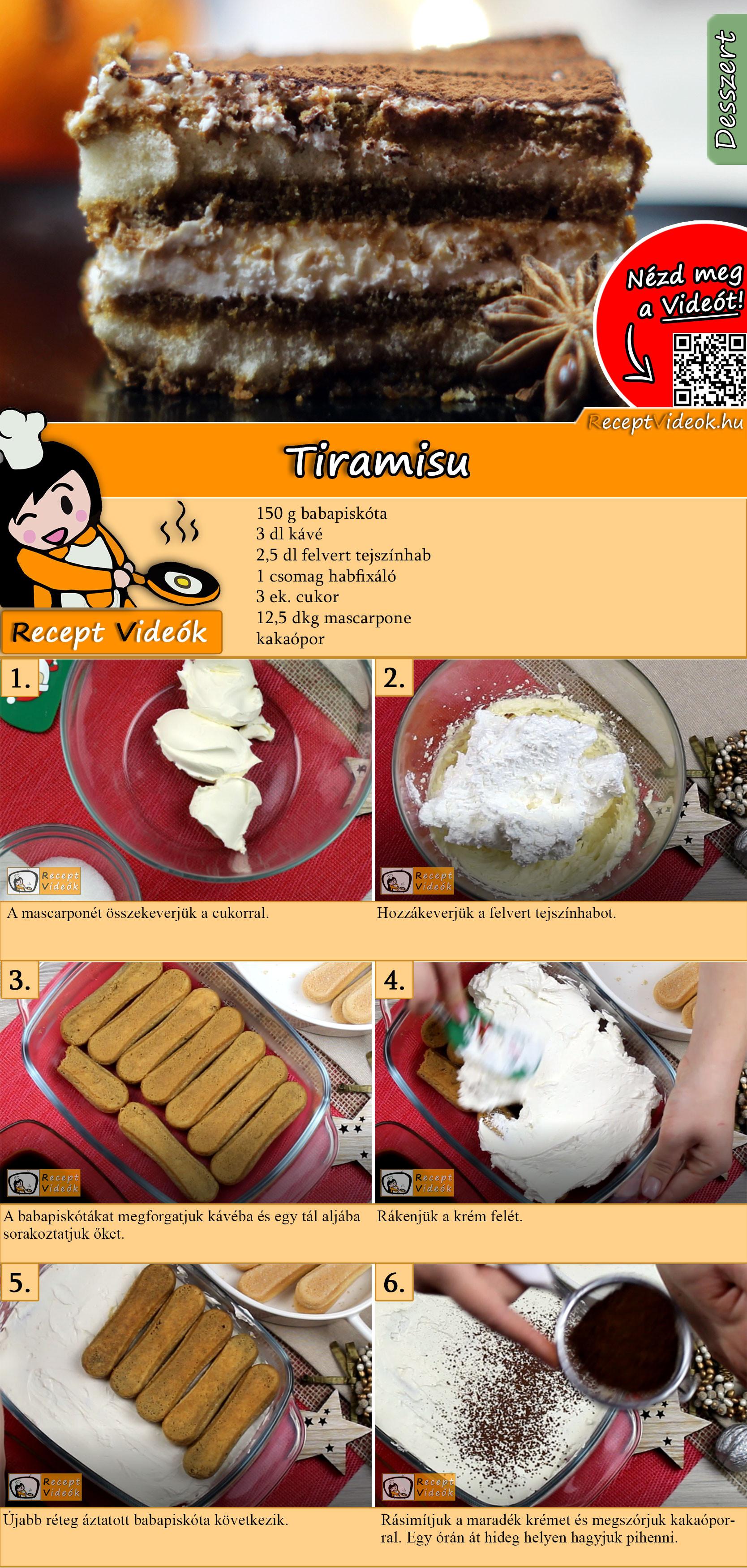 Tiramisu recept elkészítése videóval