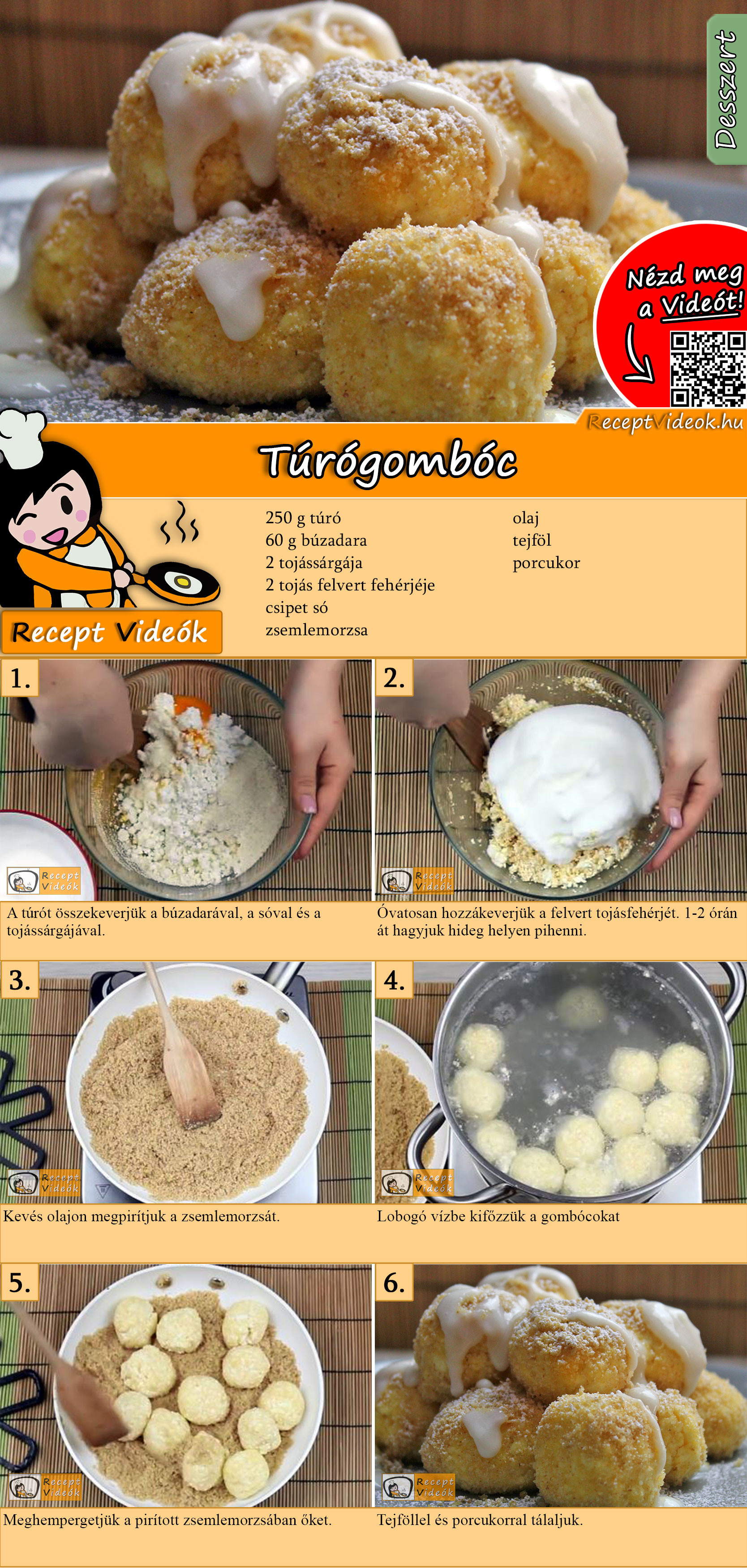 Túrógombóc recept elkészítése videóval