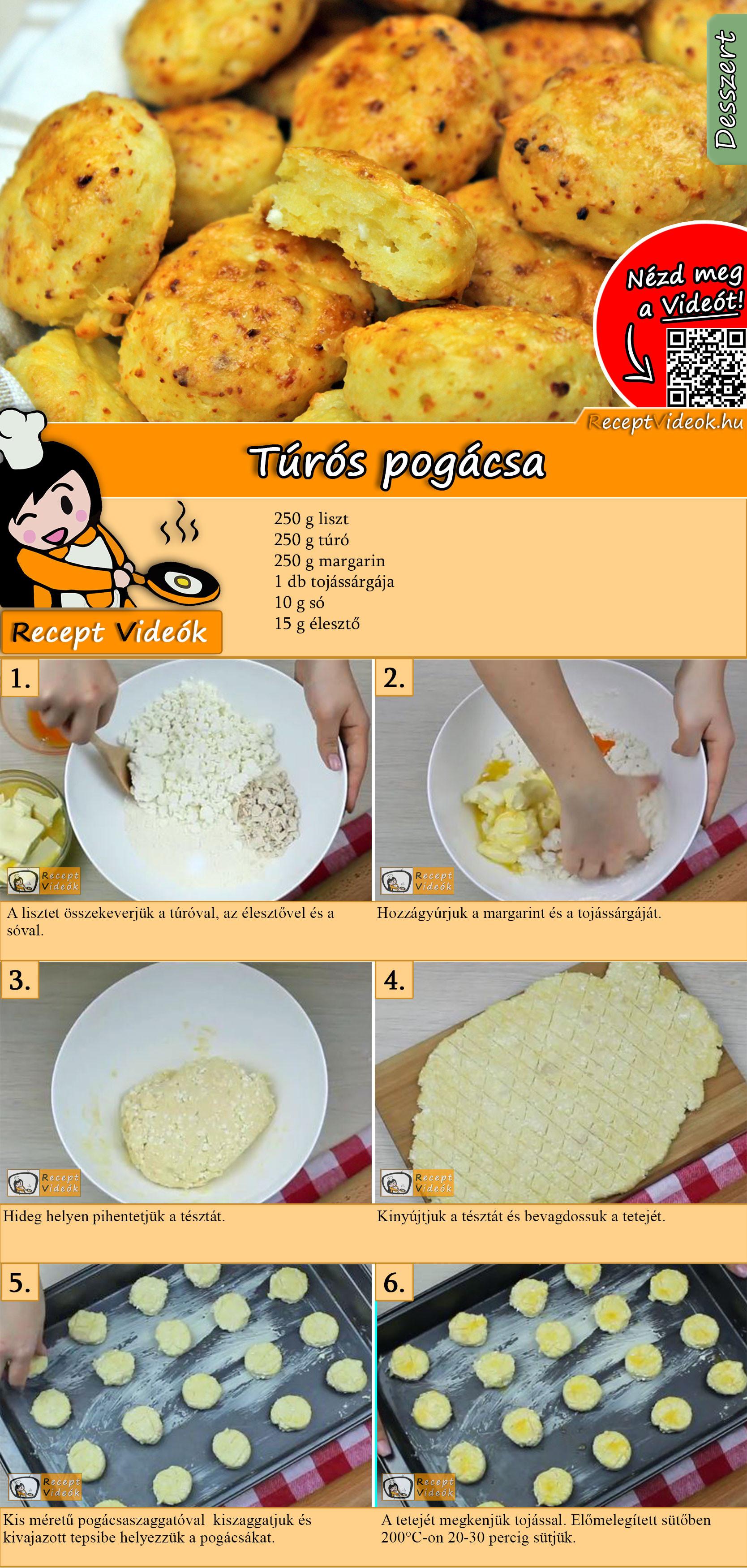 Túrós pogácsa recept elkészítése videóval