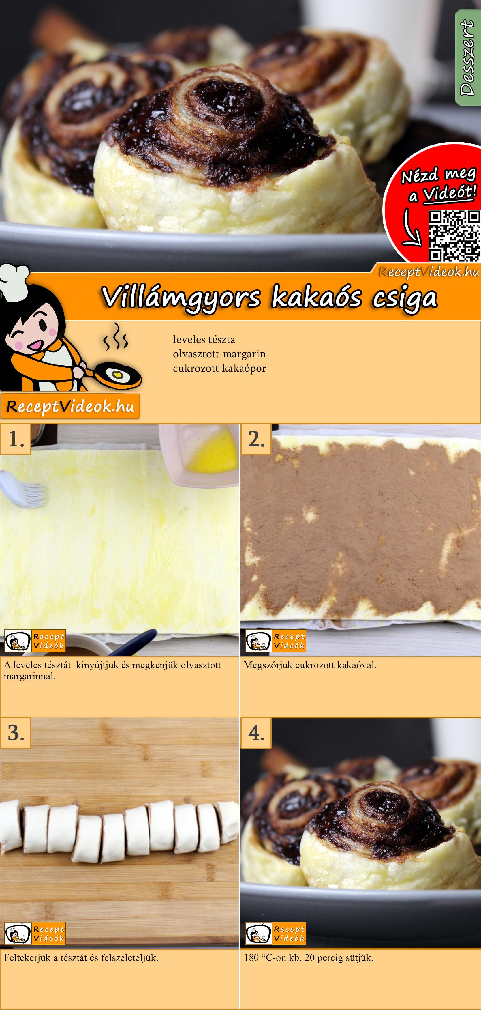 Villámgyors kakaós csiga recept elkészítése videóval