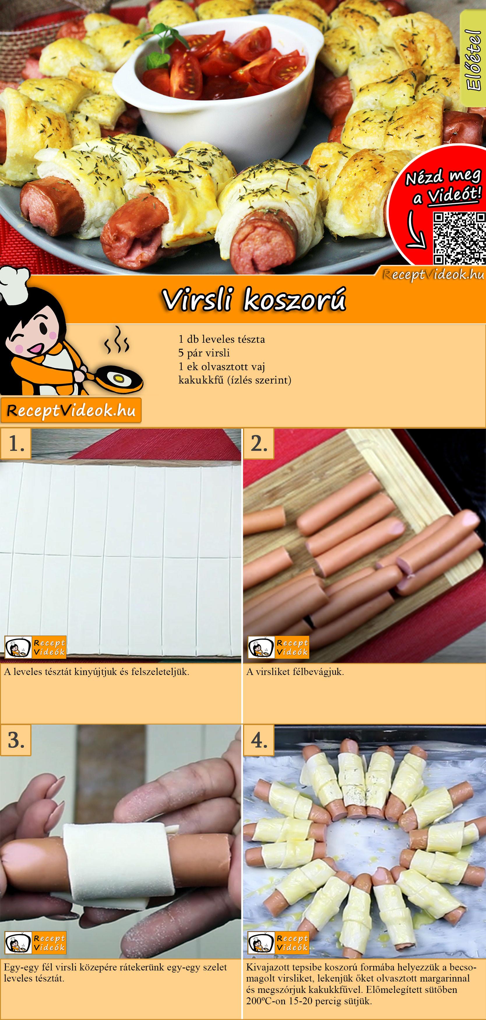 Virsli koszorú recept elkészítése videóval