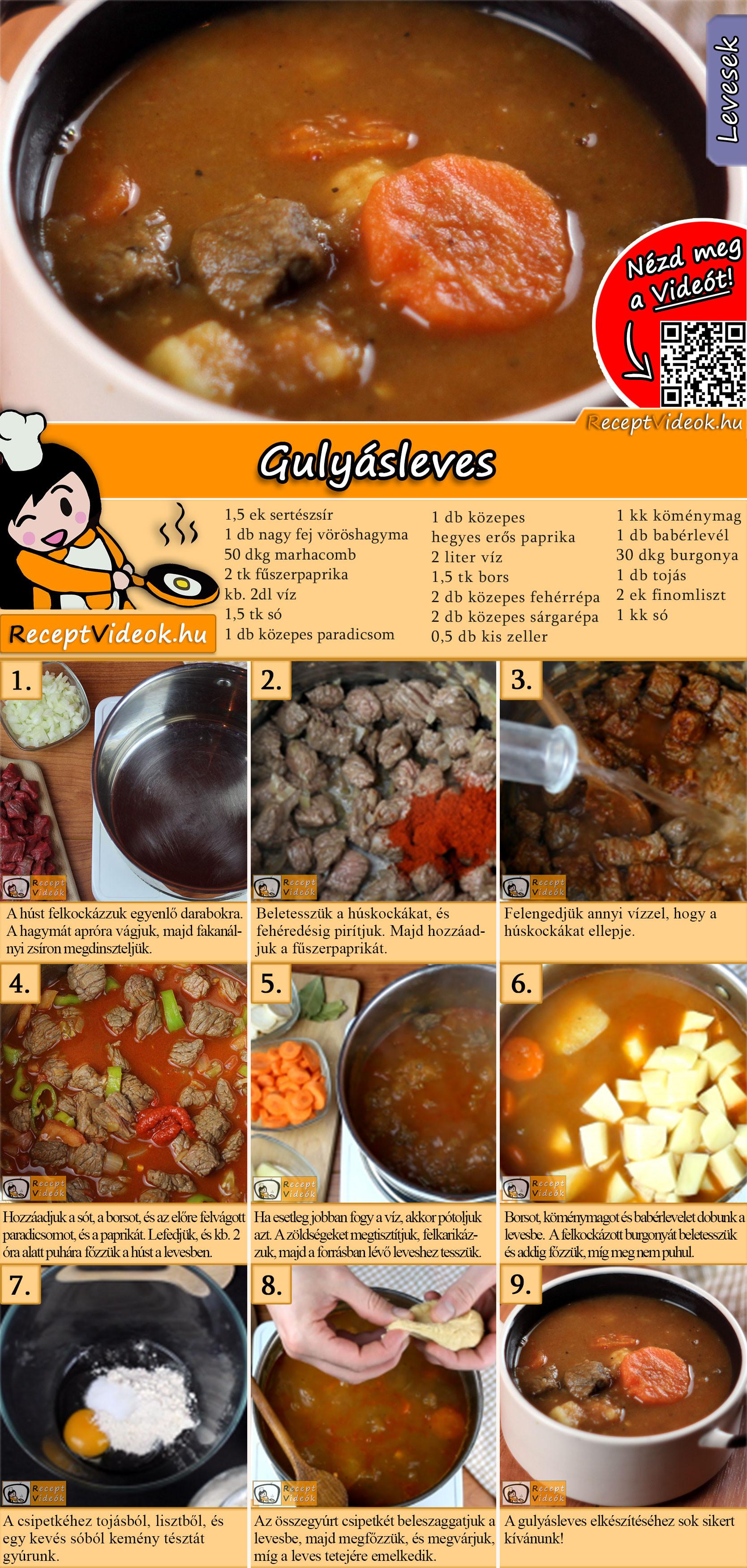 Gulyásleves recept elkészítése videóval