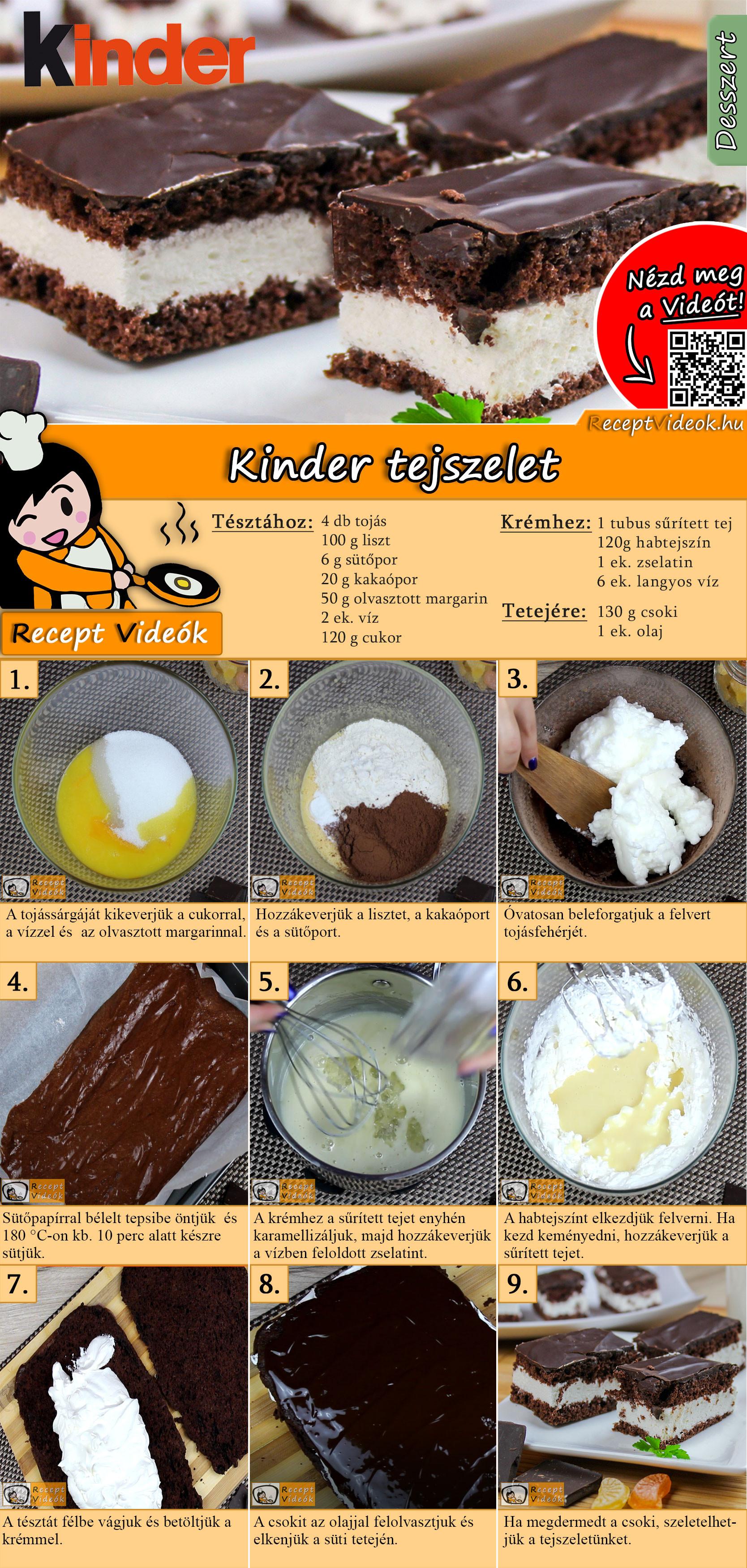 Kinder tejszelet recept elkészítése videóval