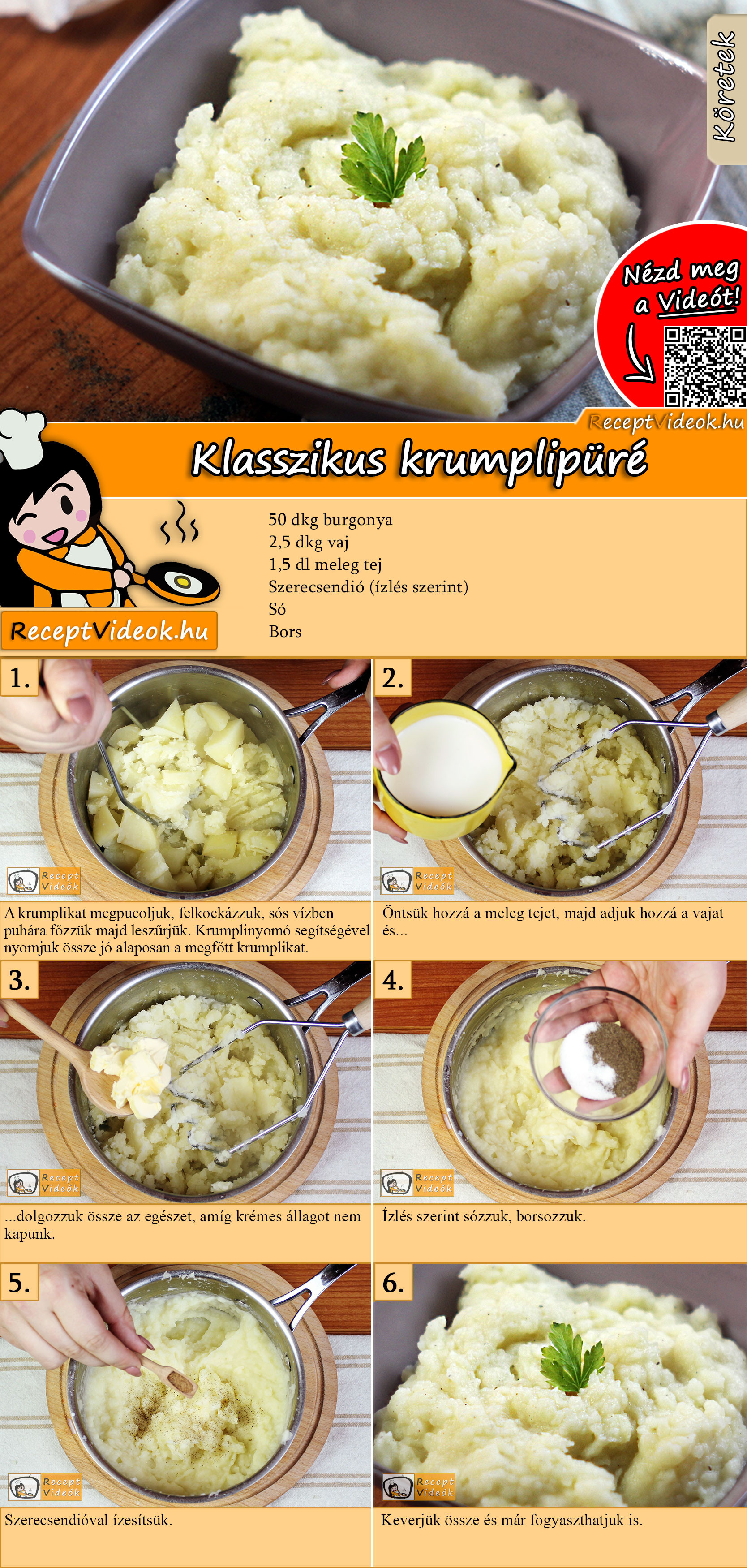 Klasszikus krumplipüré recept elkészítése videóval