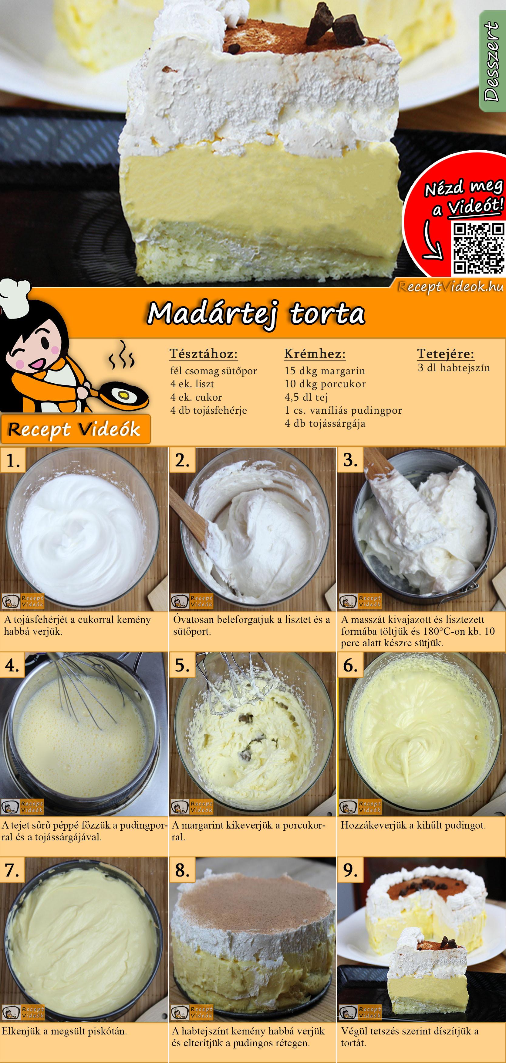 Madártej torta recept elkészítése videóval
