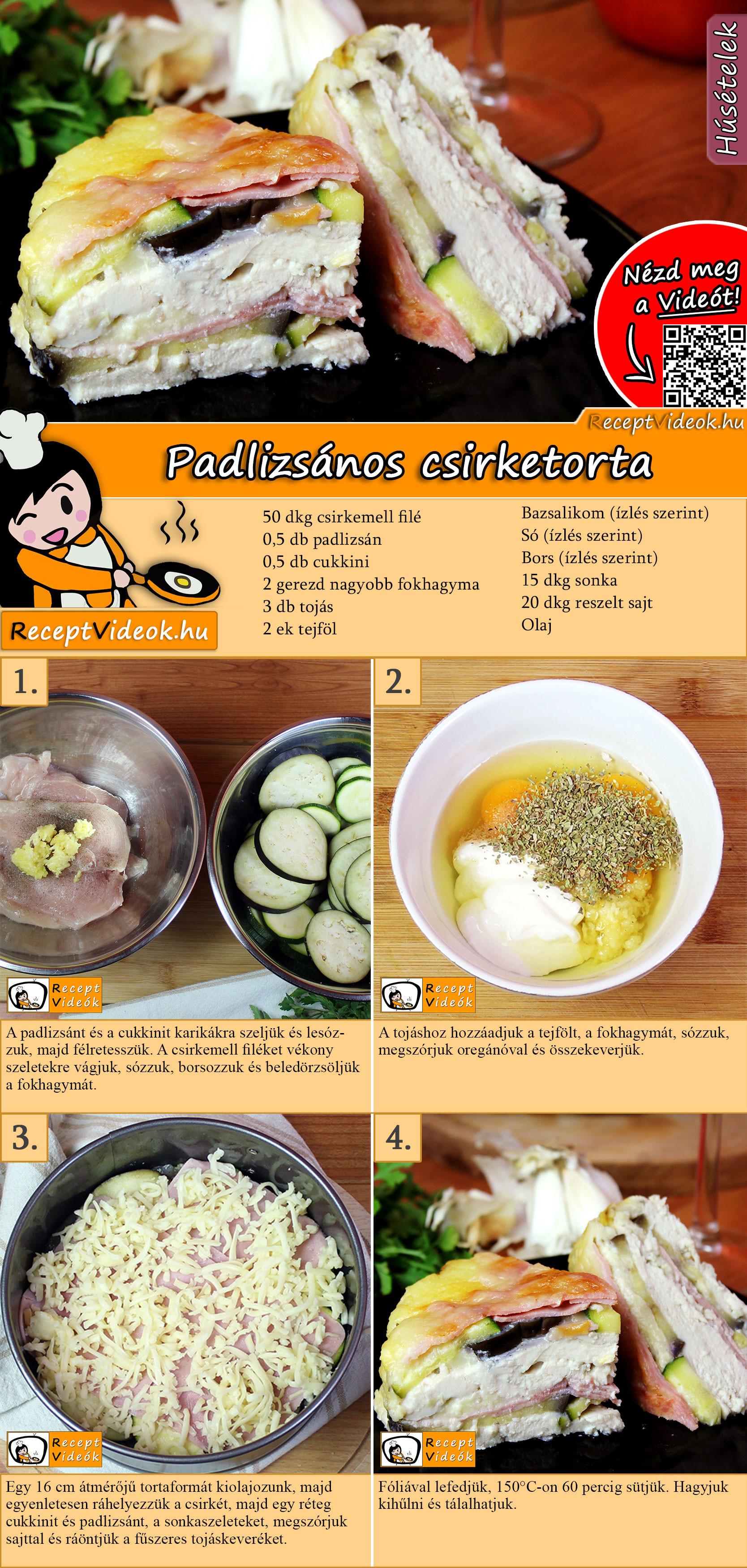 Padlizsános csirketorta recept elkészítése videóval