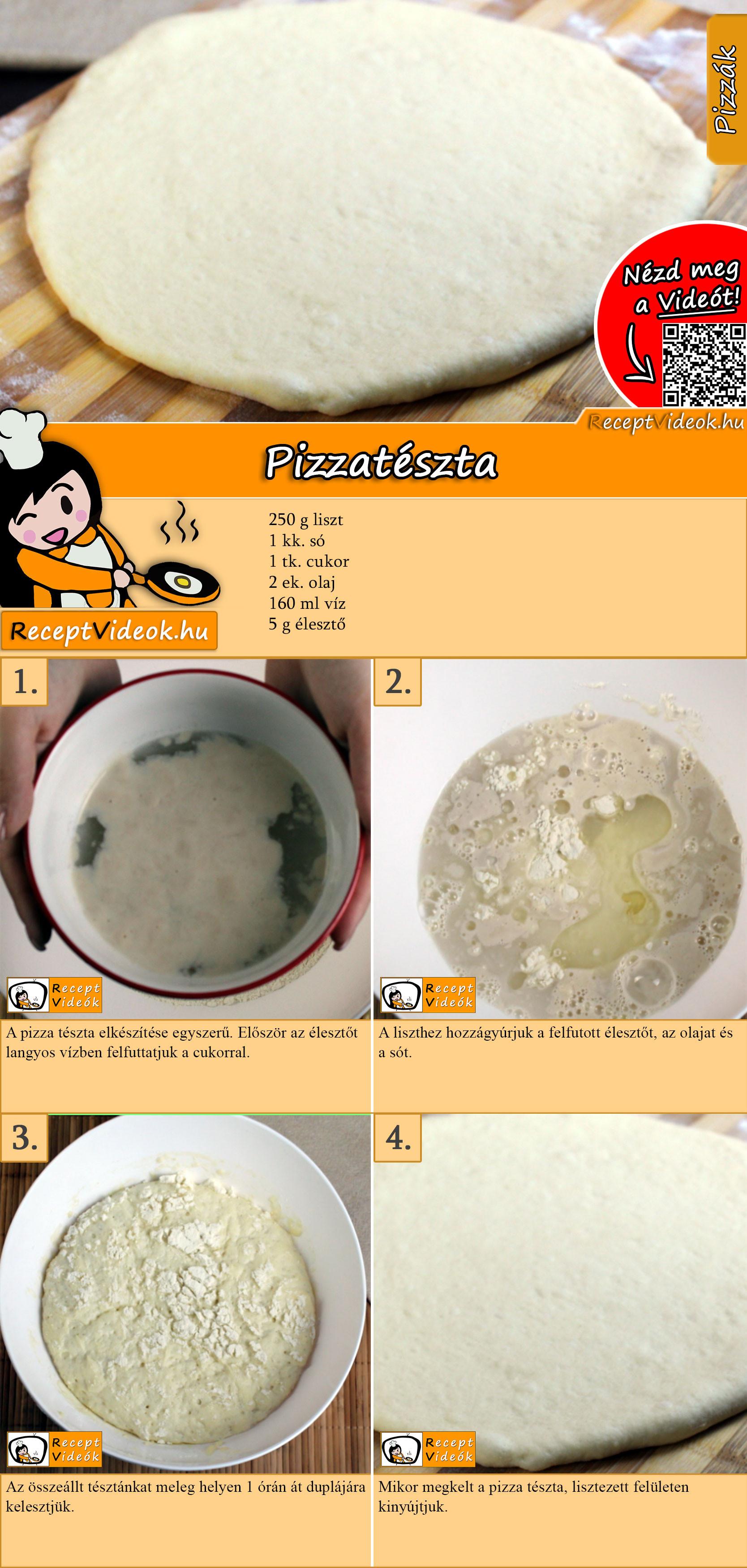 Pizzatészta recept elkészítése videóval
