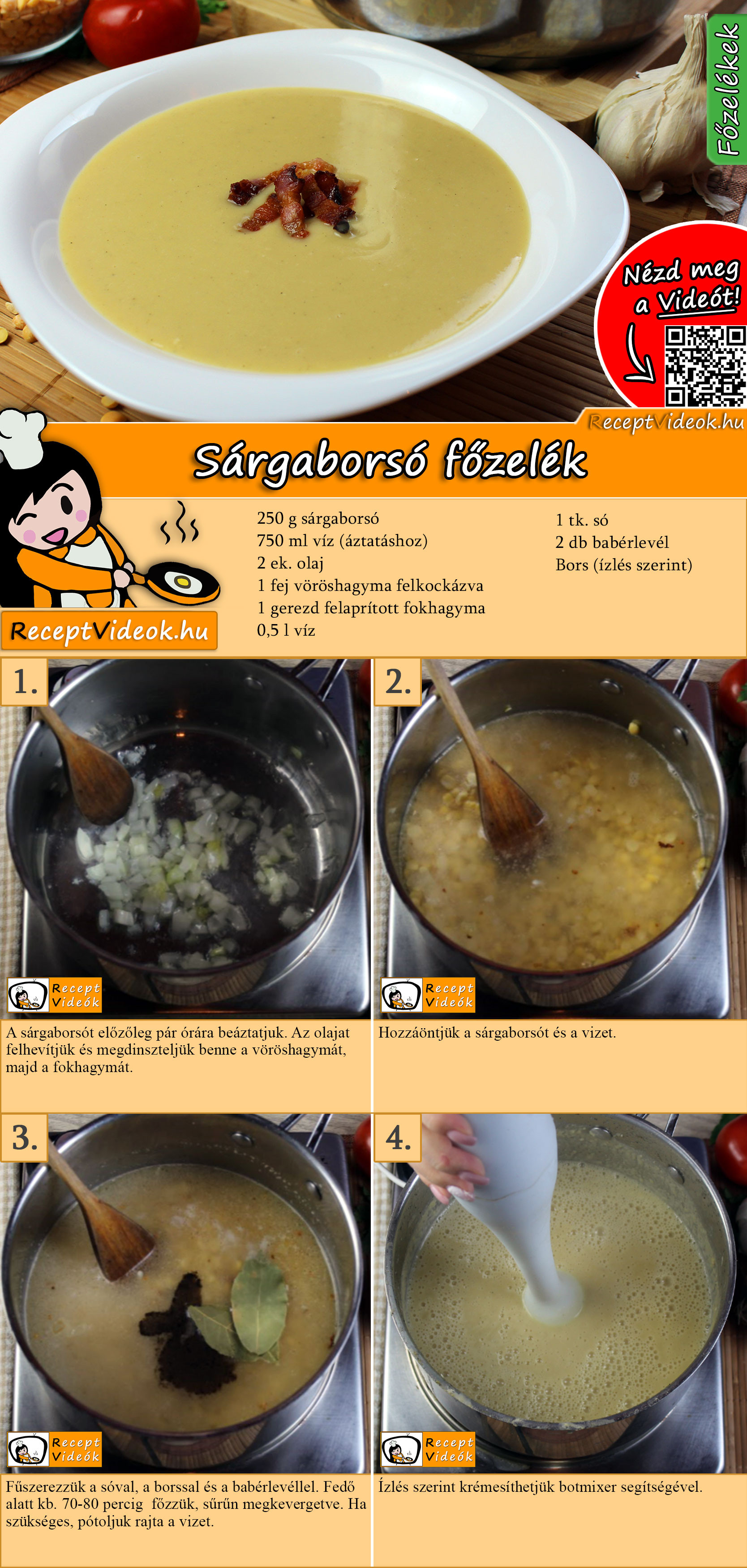 Sárgaborsó főzelék recept elkészítése videóval