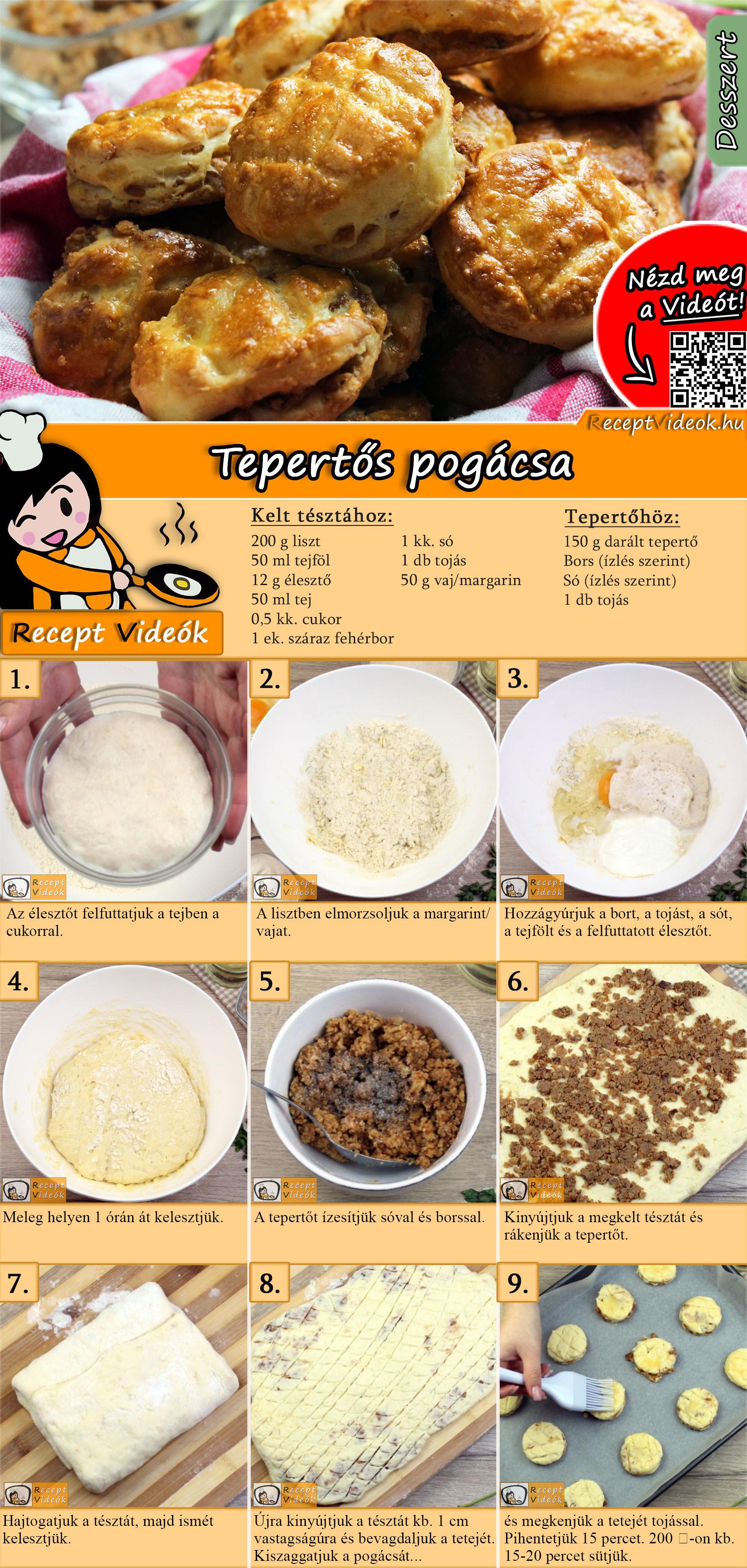 Tepertős pogácsa recept elkészítése videóval