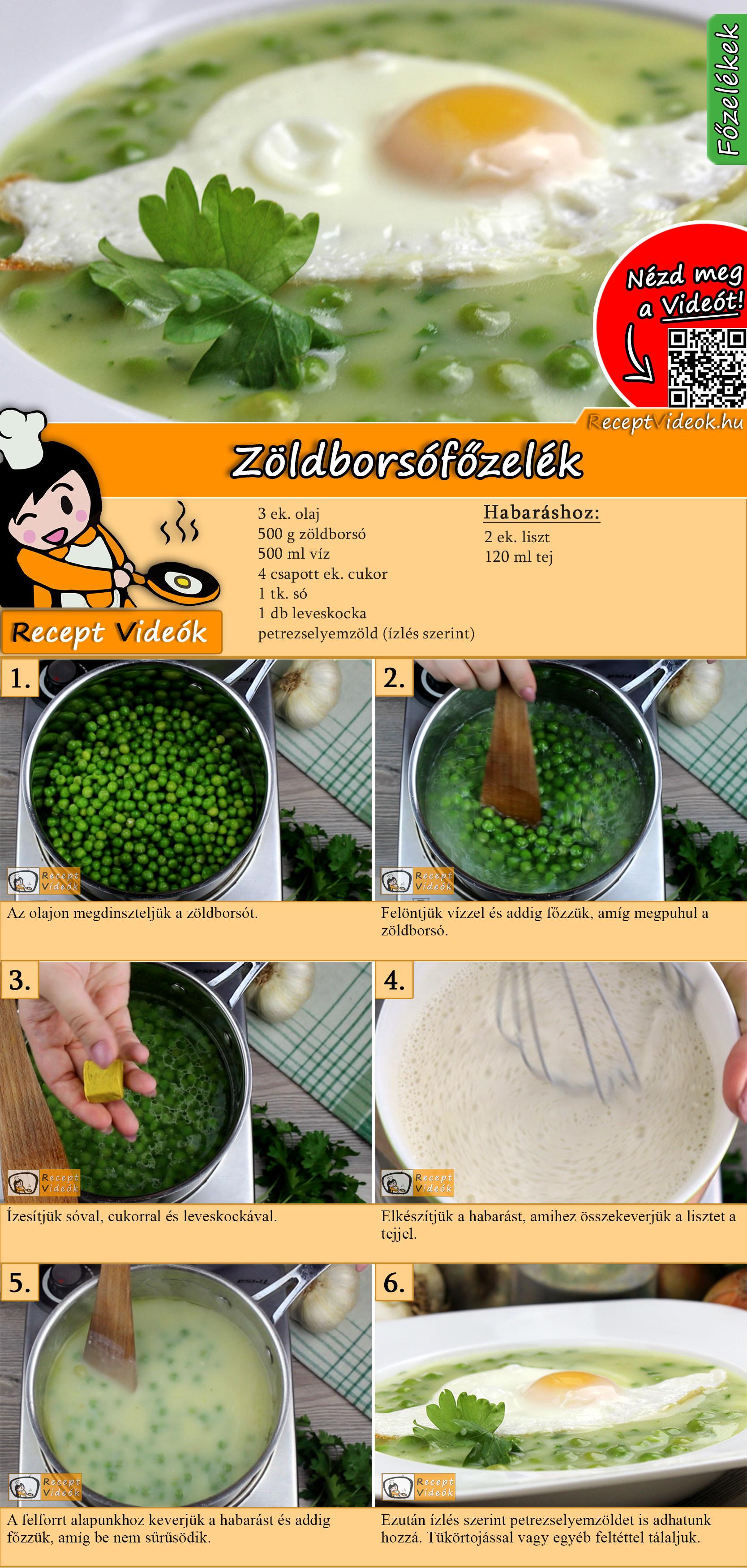 Zöldborsófőzelék recept elkészítése videóval