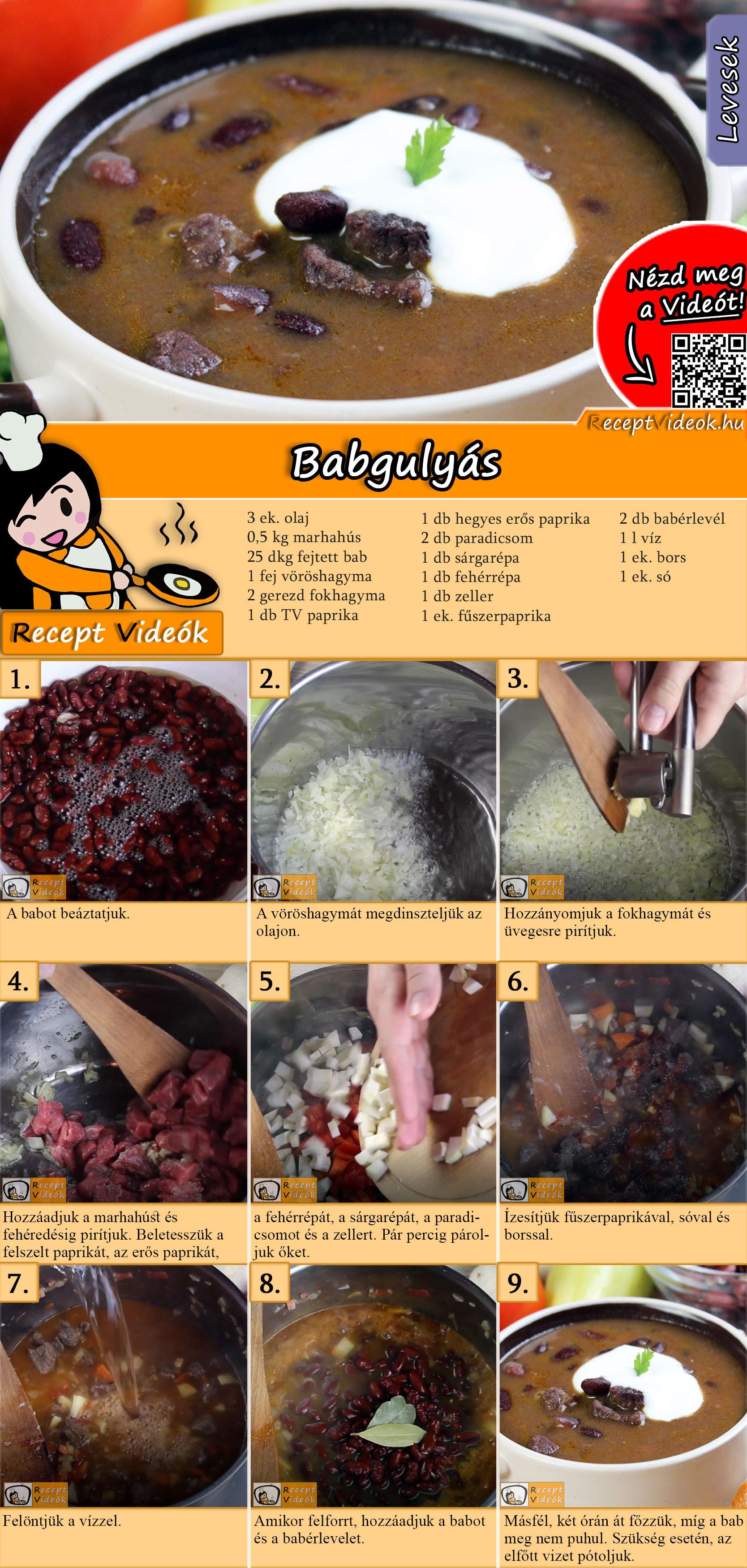 Babgulyás recept elkészítése videóval