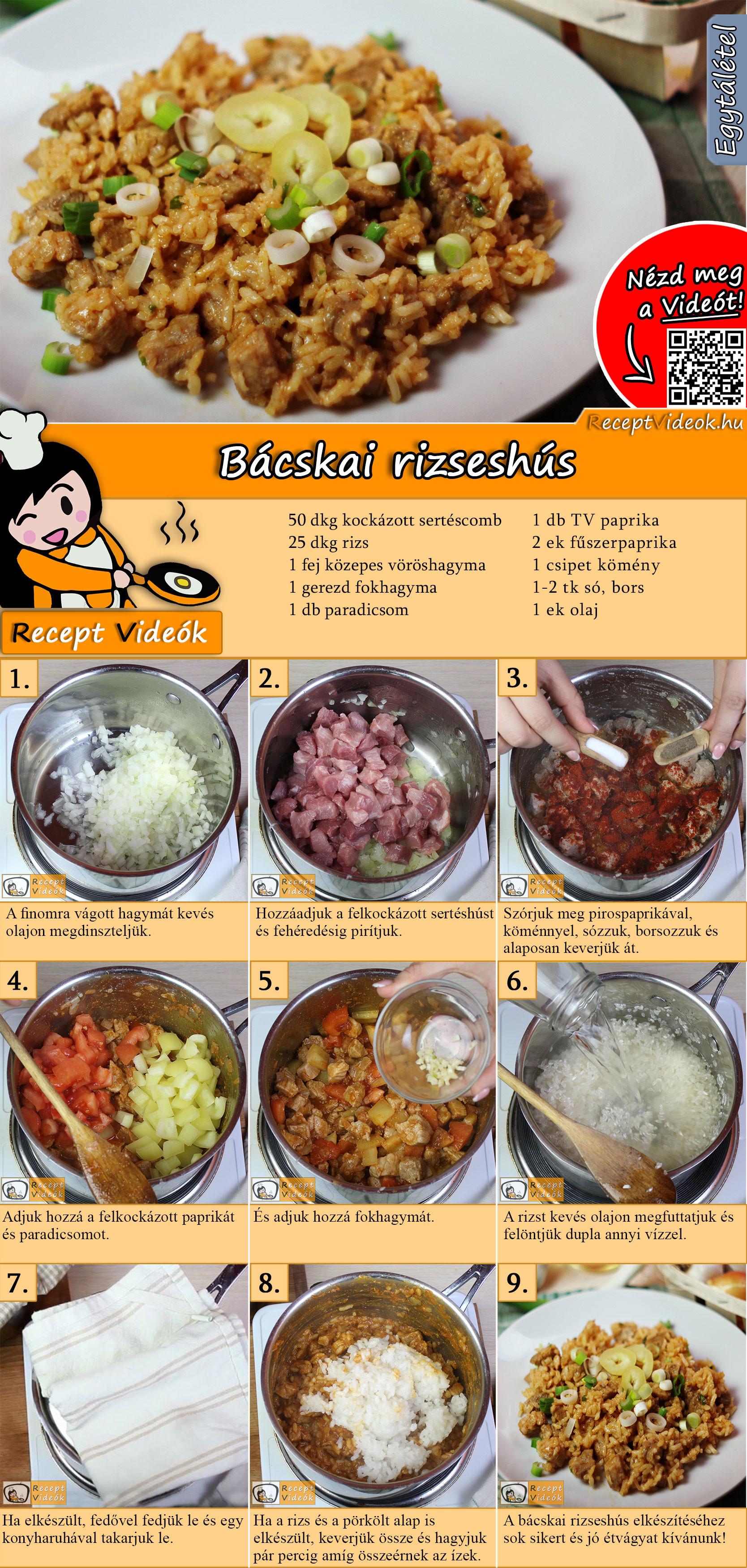 Bácskai rizseshús recept elkészítése videóval
