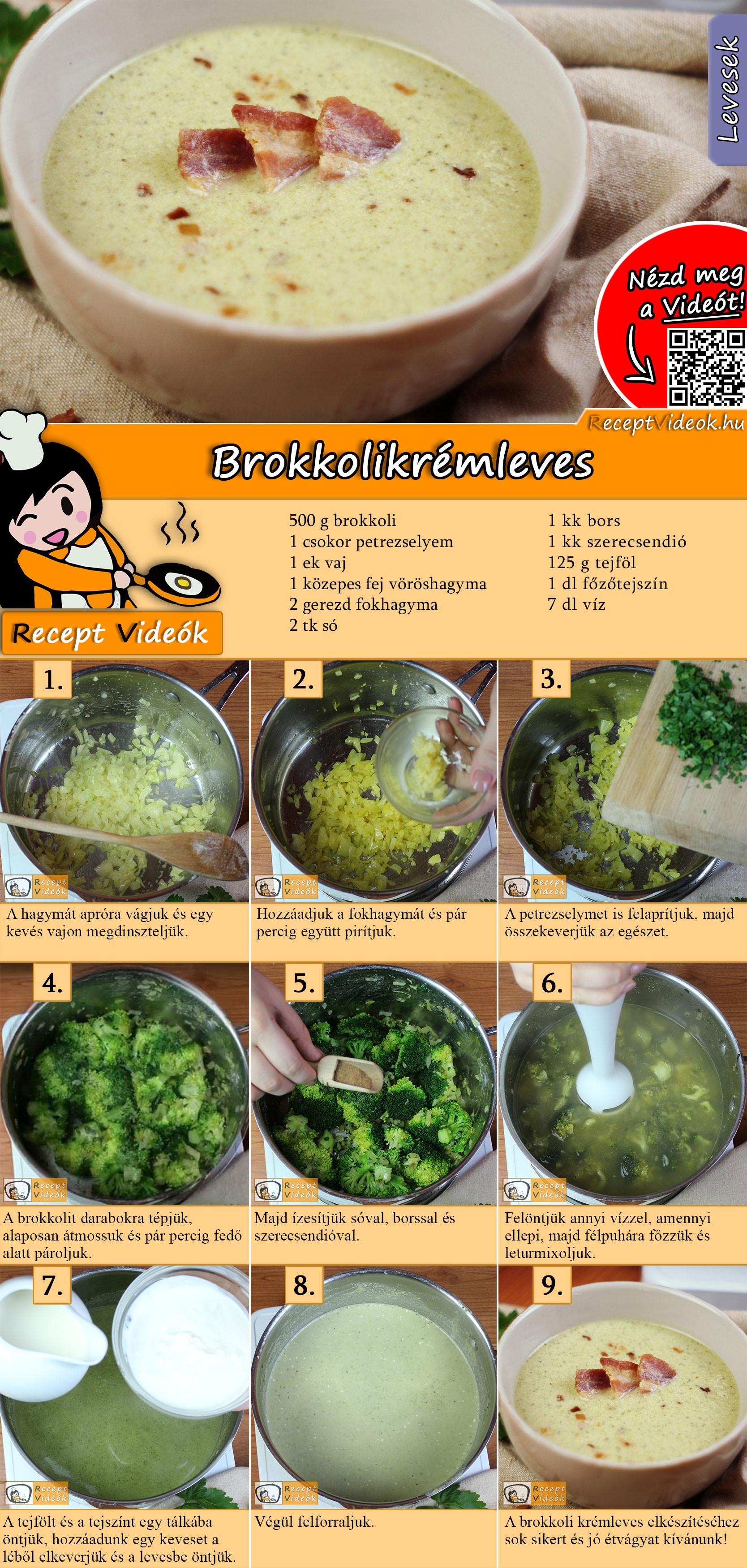 Brokkolikrémleves recept elkészítése videóval
