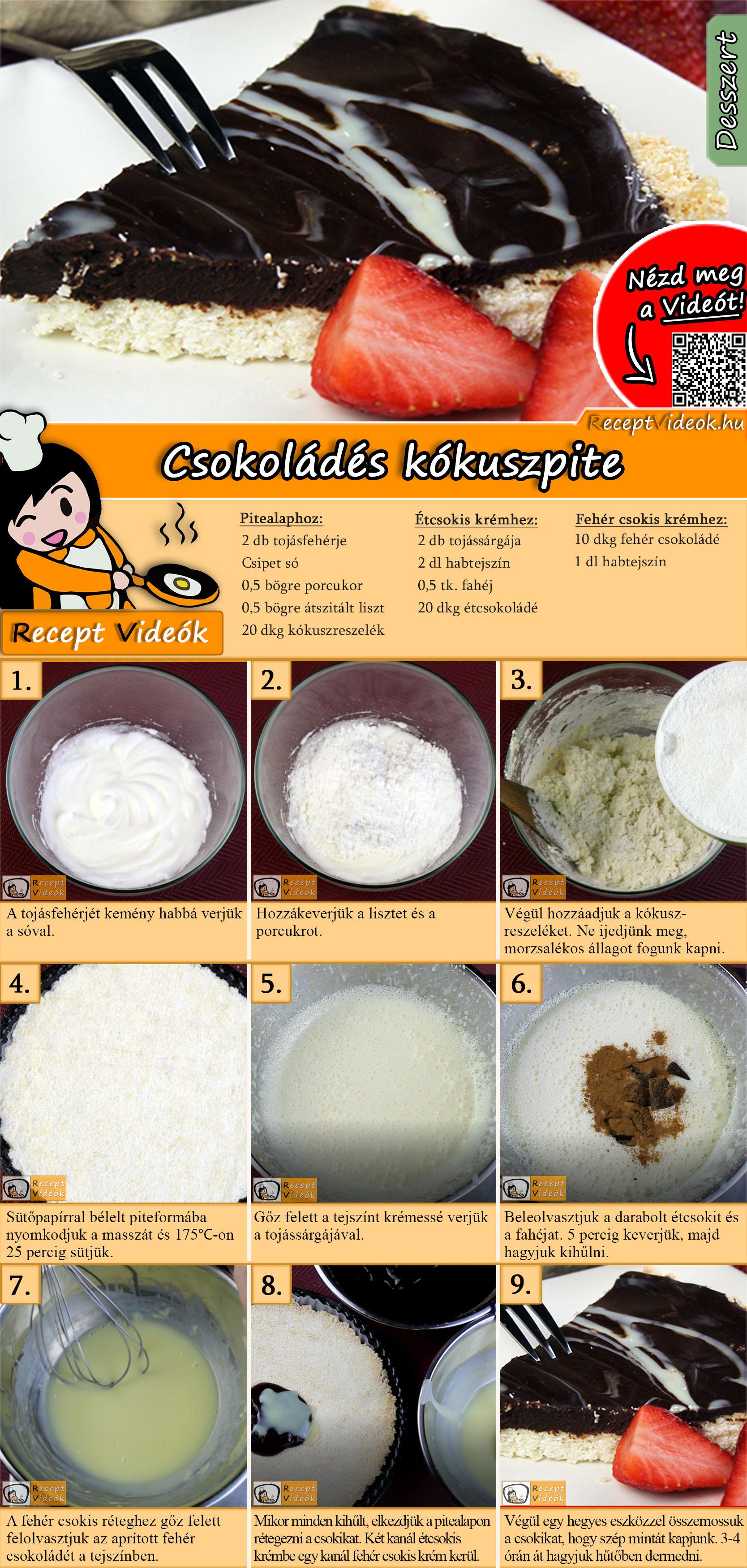 Csokoládés kókuszpite recept elkészítése videóval