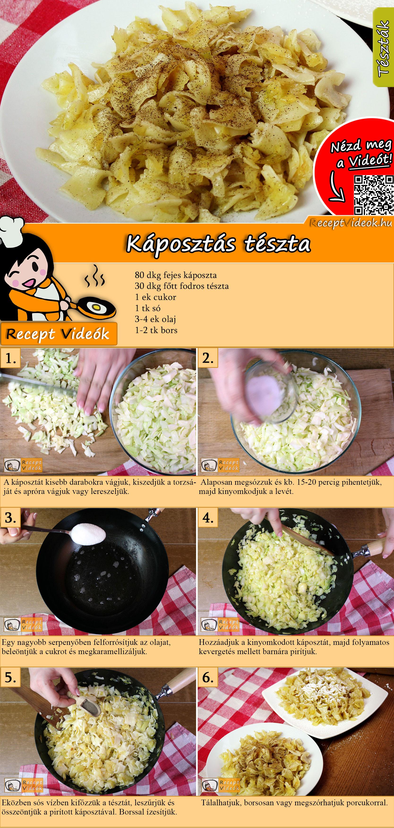 Egyszerű káposztás tészta recept elkészítése videóval