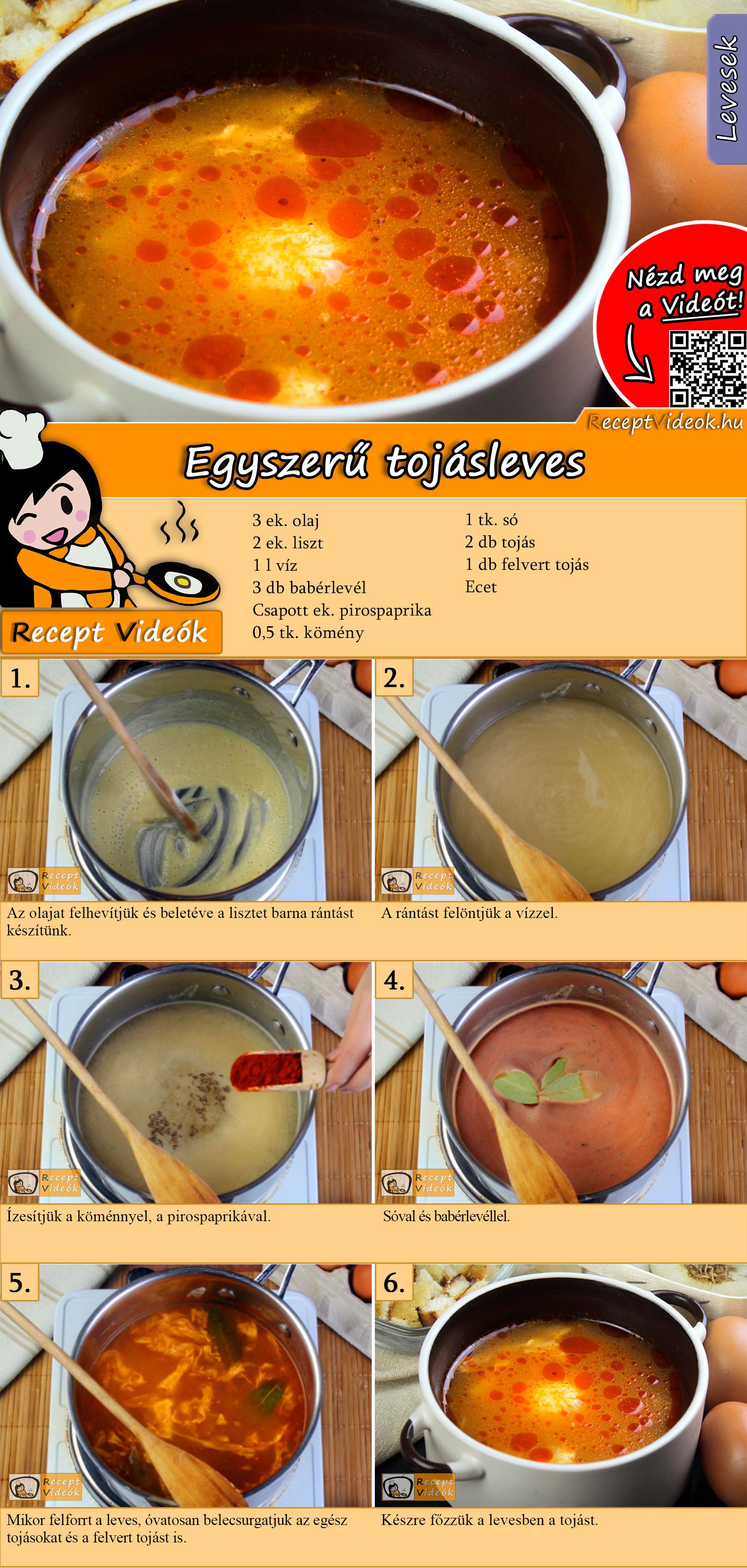 Egyszerű tojásleves recept elkészítése videóval