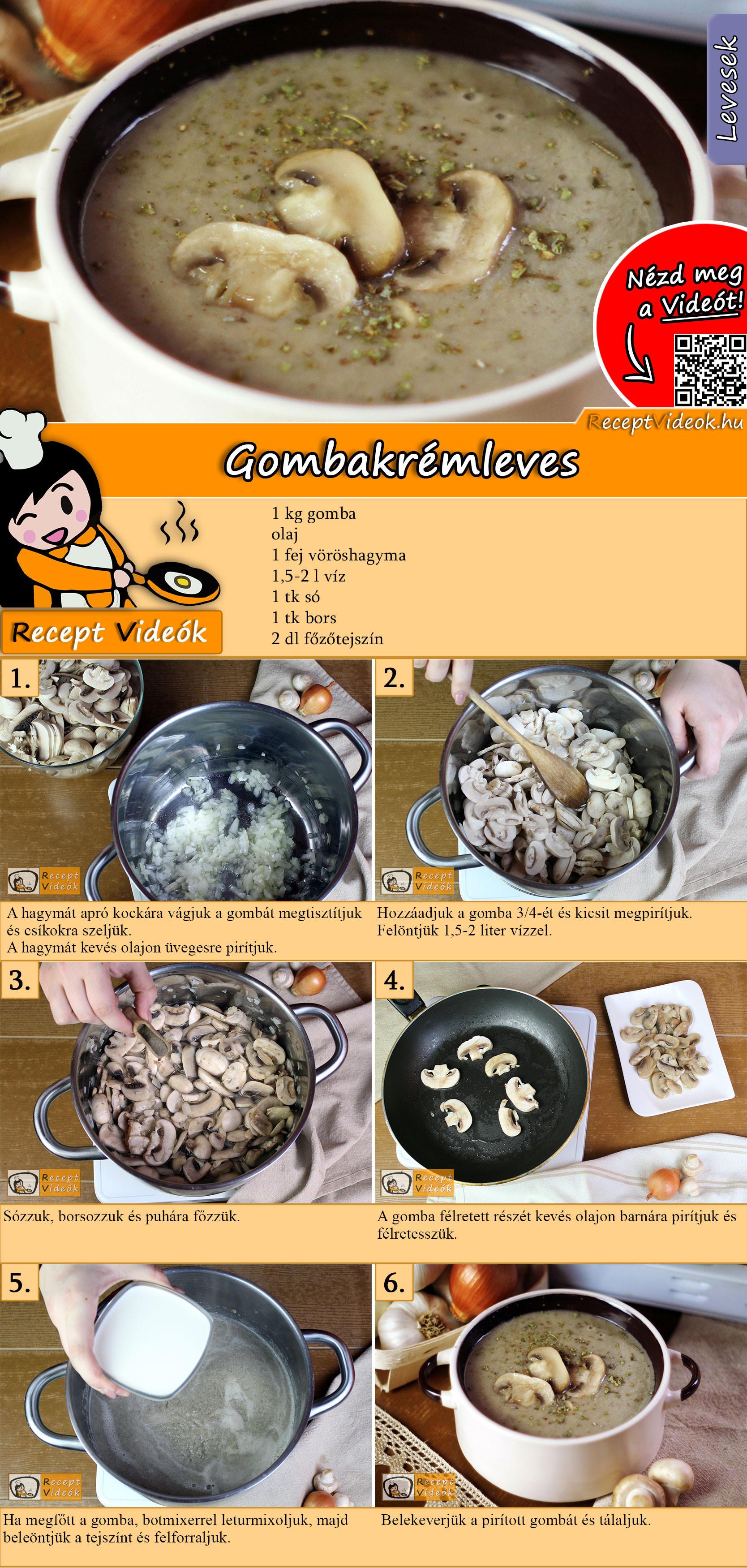 Gombakrémleves recept elkészítése videóval