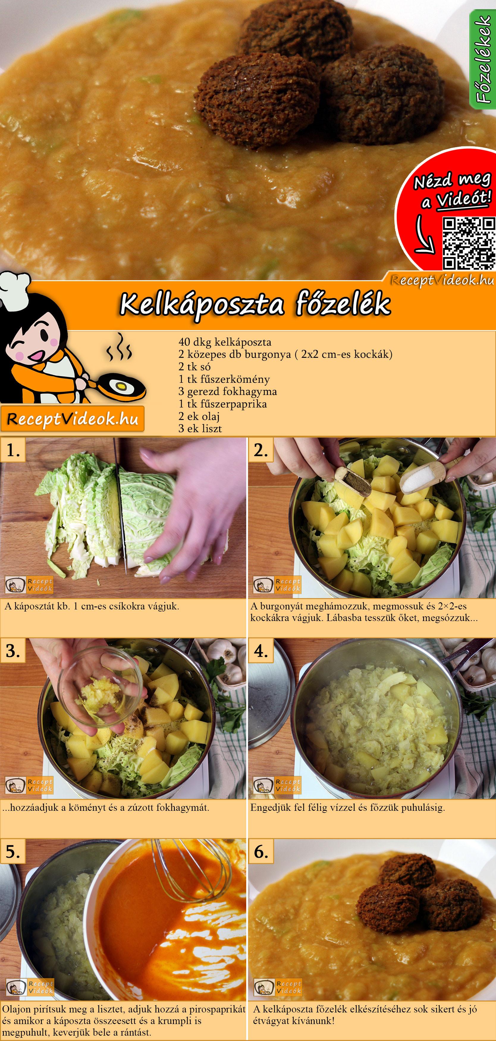 Kelkáposzta főzelék recept elkészítése videóval