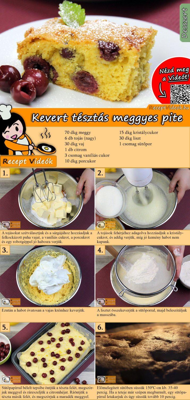Kevert tésztás meggyes pite recept ekészítése videóval