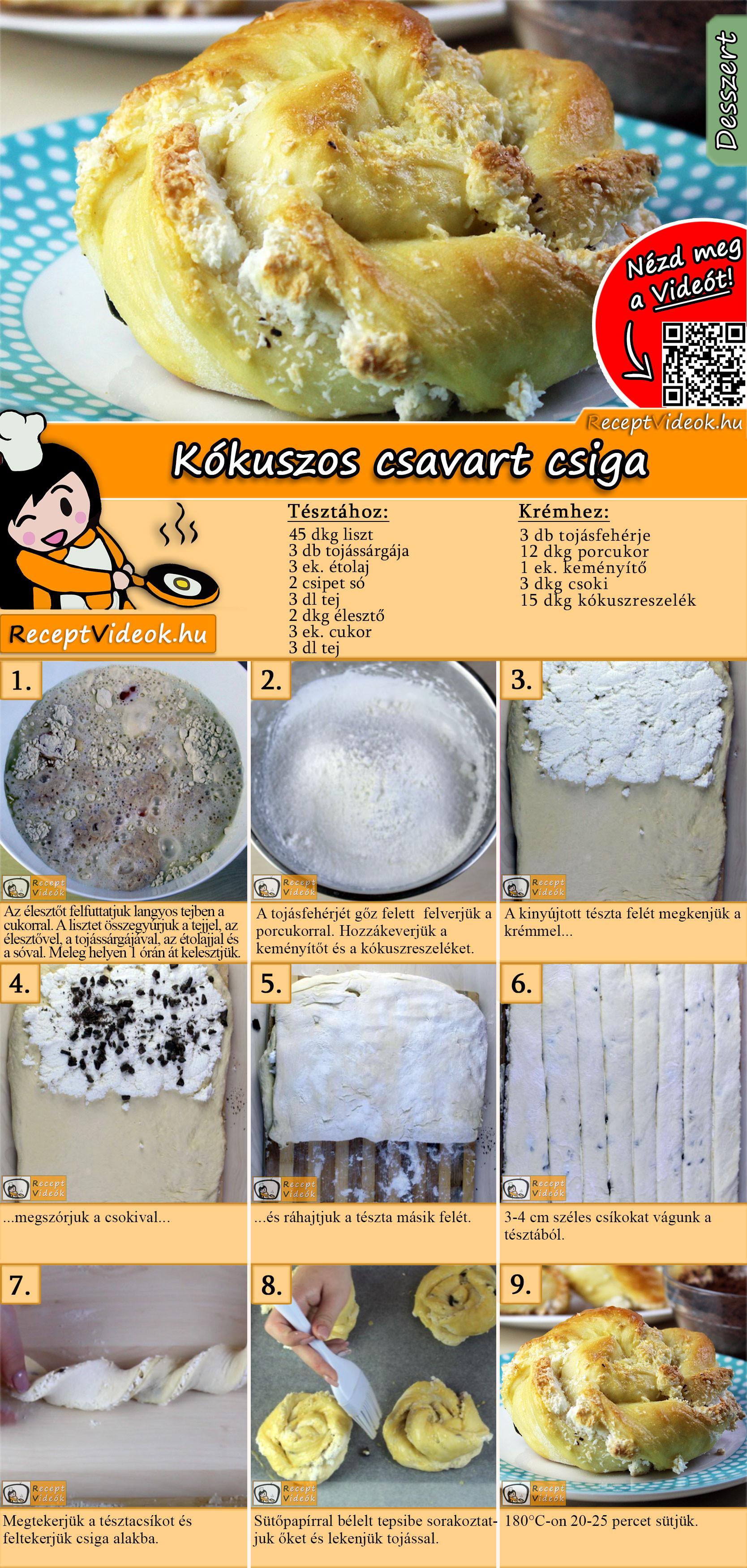 Kókuszos csavart csiga recept elkészítése videóval