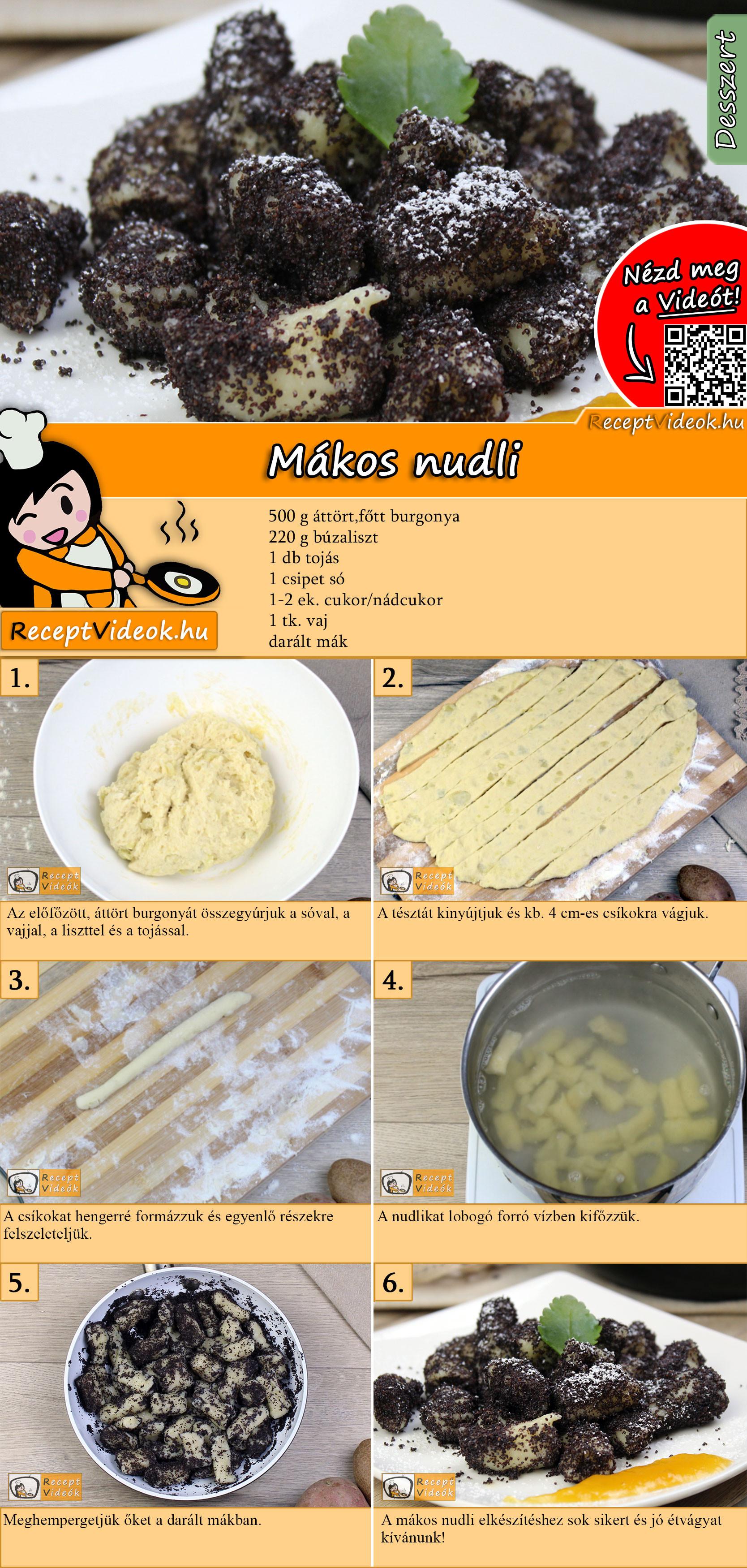 Mákos nudli recept elkészítése videóval