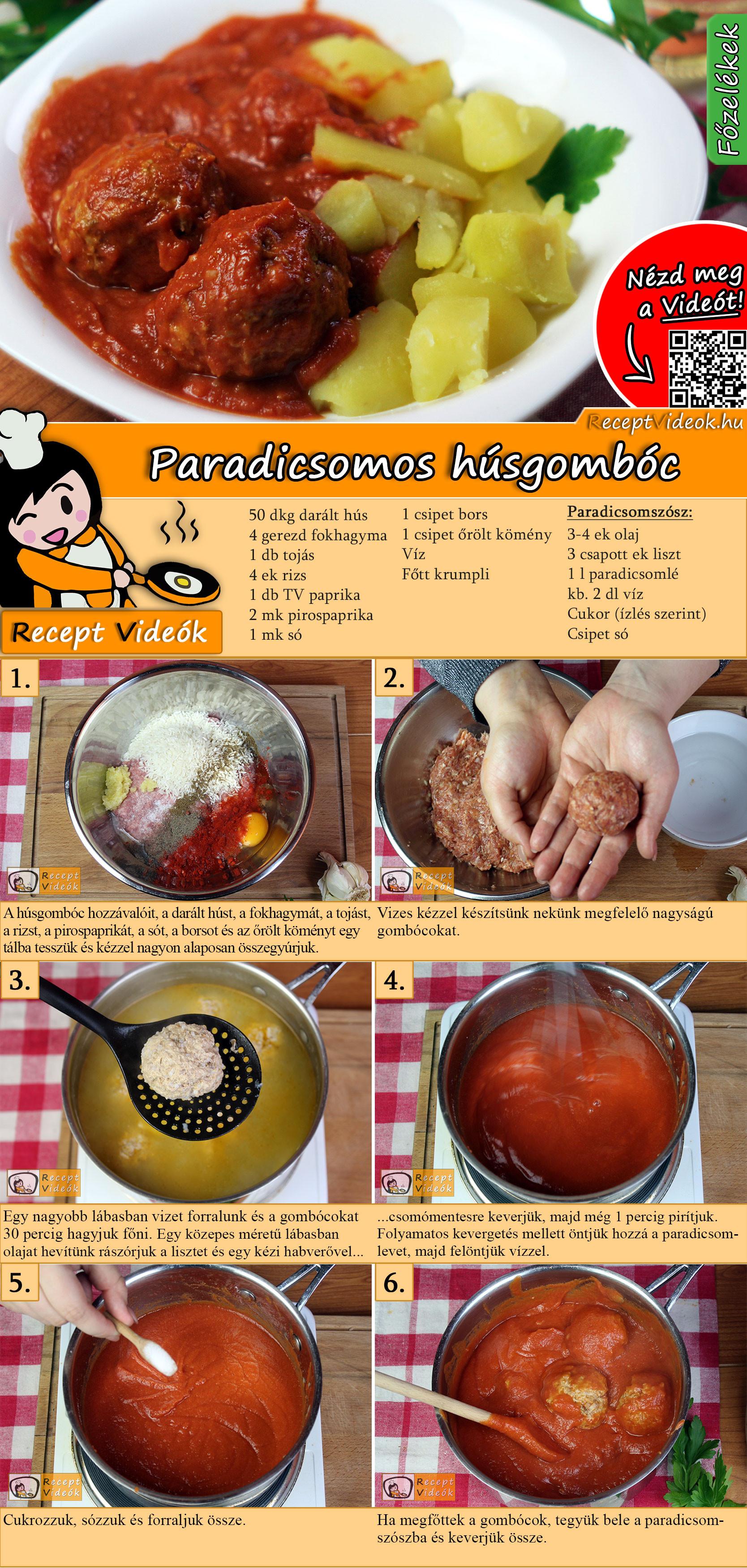 Paradicsomos húsgombóc recept elkészítése videóval
