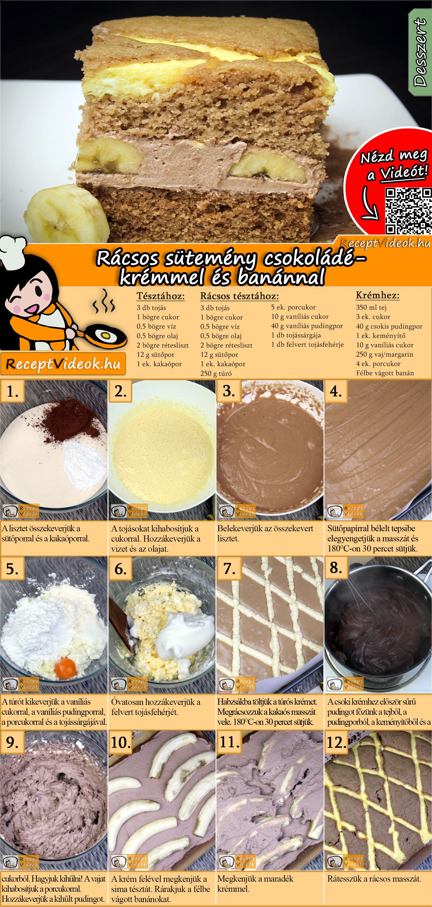 Rácsos sütemény csokoládékrémmel és banánnal recept elkészítése videóval