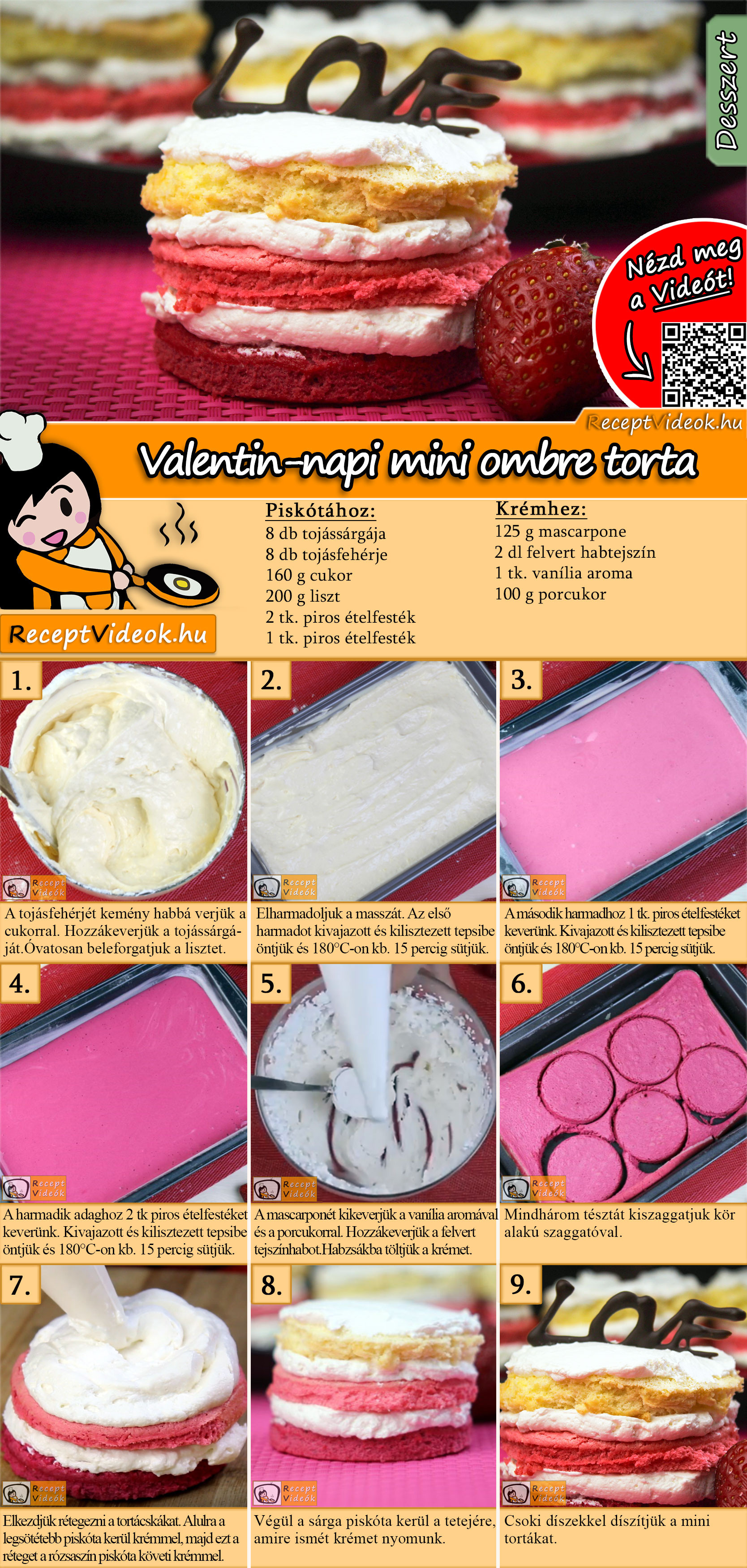 Valentin-napi mini ombre torta recept elkészítése videóval