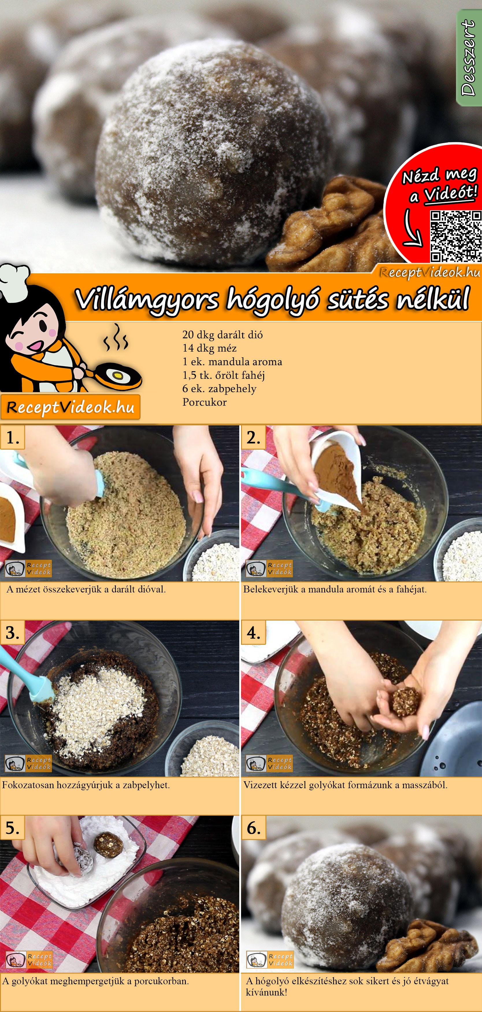 Villámgyors hógolyó sütés nélkül recept elkészítése videóval