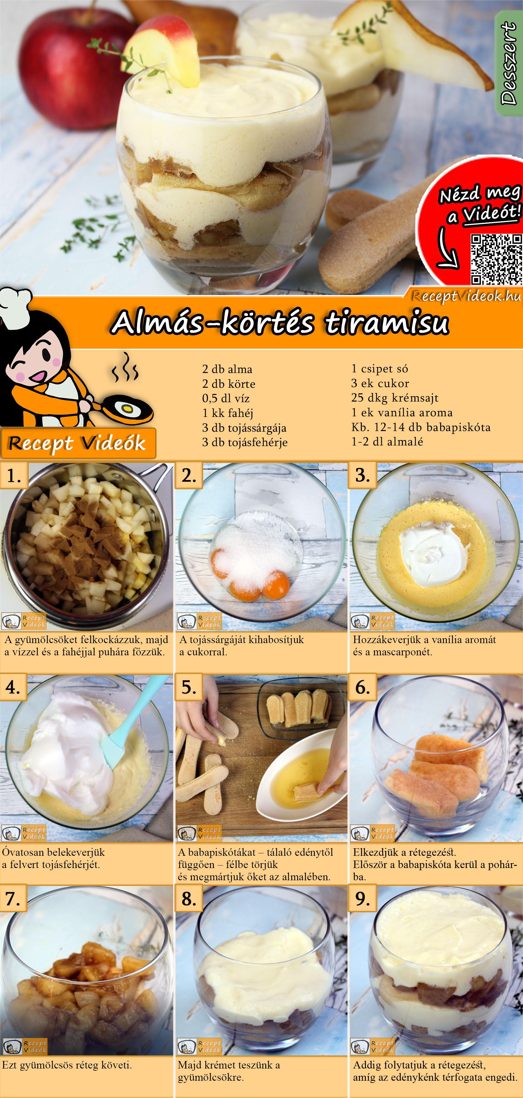 Almás-körtés tiramisu recept elkészítése videóval